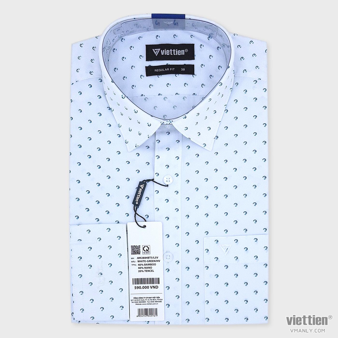 Áo sơ mi nam dài tay Việt Tiến màu trắng hoa văn xanh regular fit 8M2884BT5/L5V