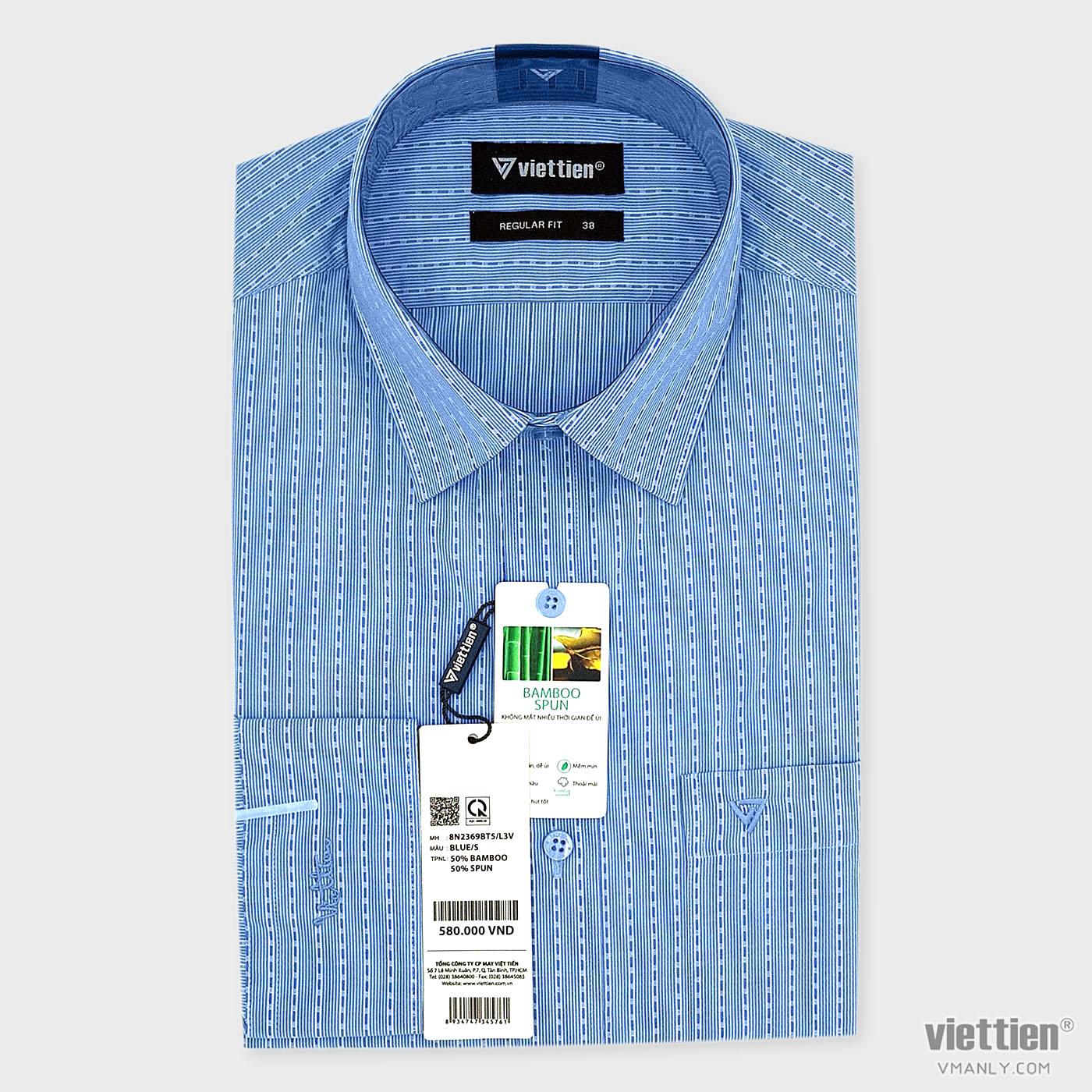 Áo sơ mi nam dài tay Việt Tiến có túi, màu xanh sọc tăm regular fit 8N2369BT5/L3V