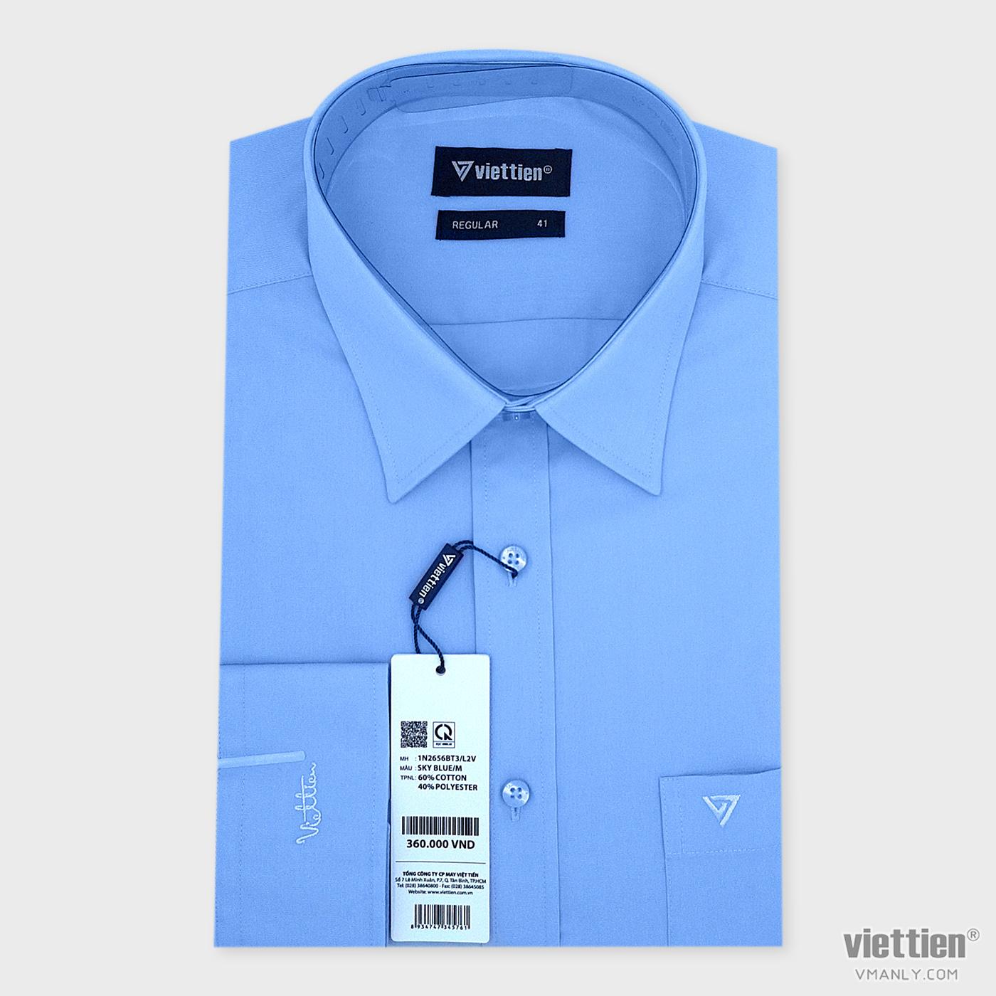 Áo sơ mi nam dài tay Việt Tiến có túi regular màu xanh da trời 1N2656BT3/L2V