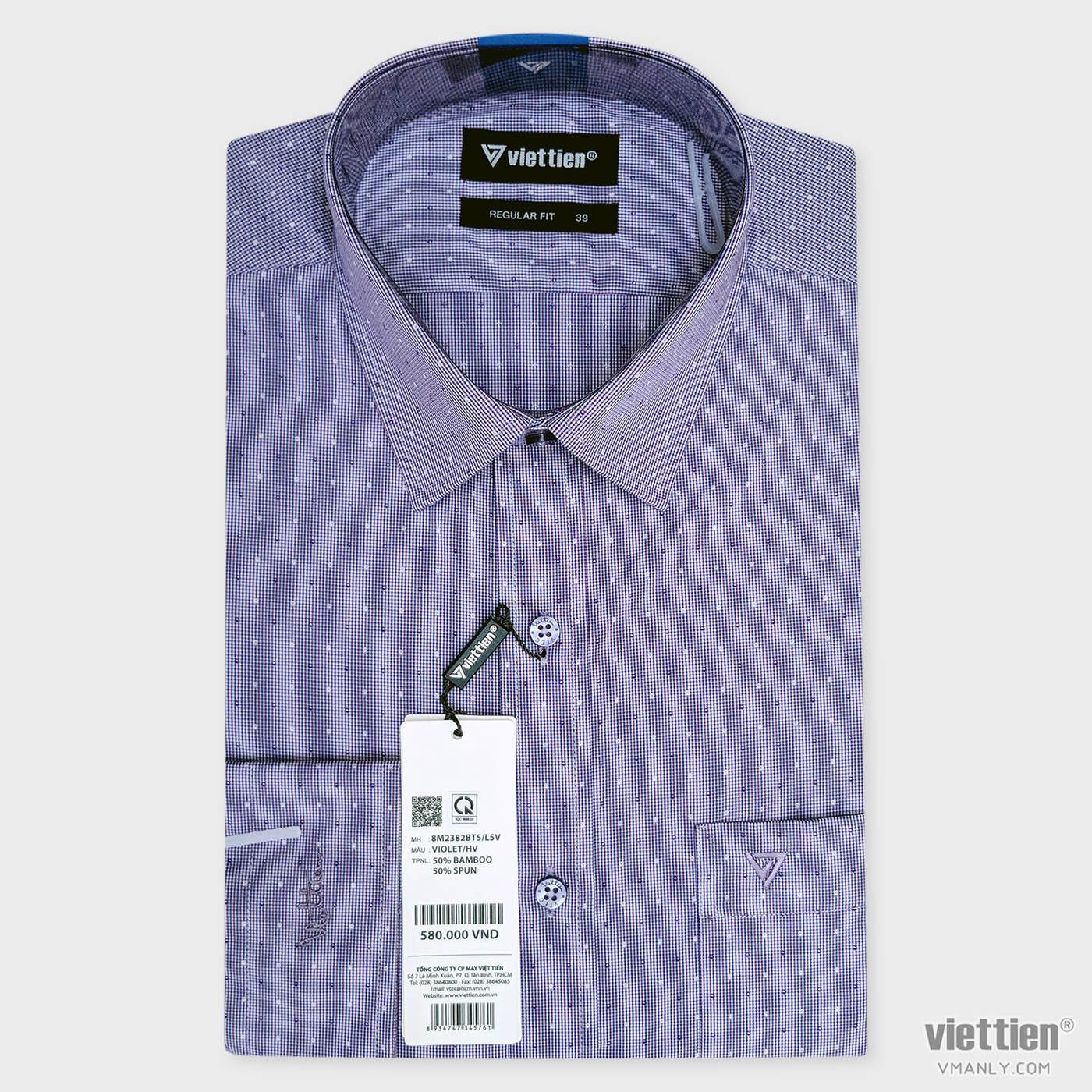 Áo sơ mi nam dài tay Việt Tiến màu tím hoa văn 8M2382