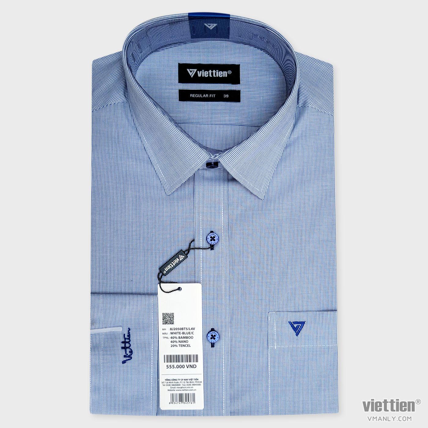 Áo sơ mi nam dài tay Việt Tiến màu xanh kẻ ca rô 8J2050