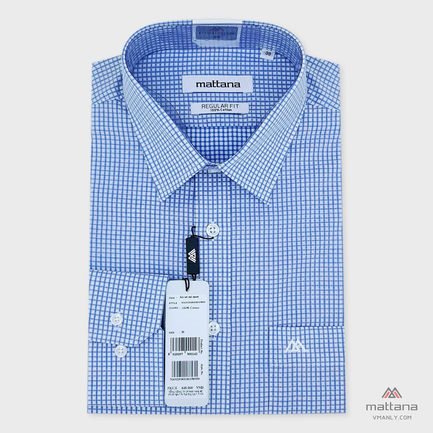 Áo sơ mi nam dài tay Mattana regular fit kẻ carô xanh trắng MAM25180018107893