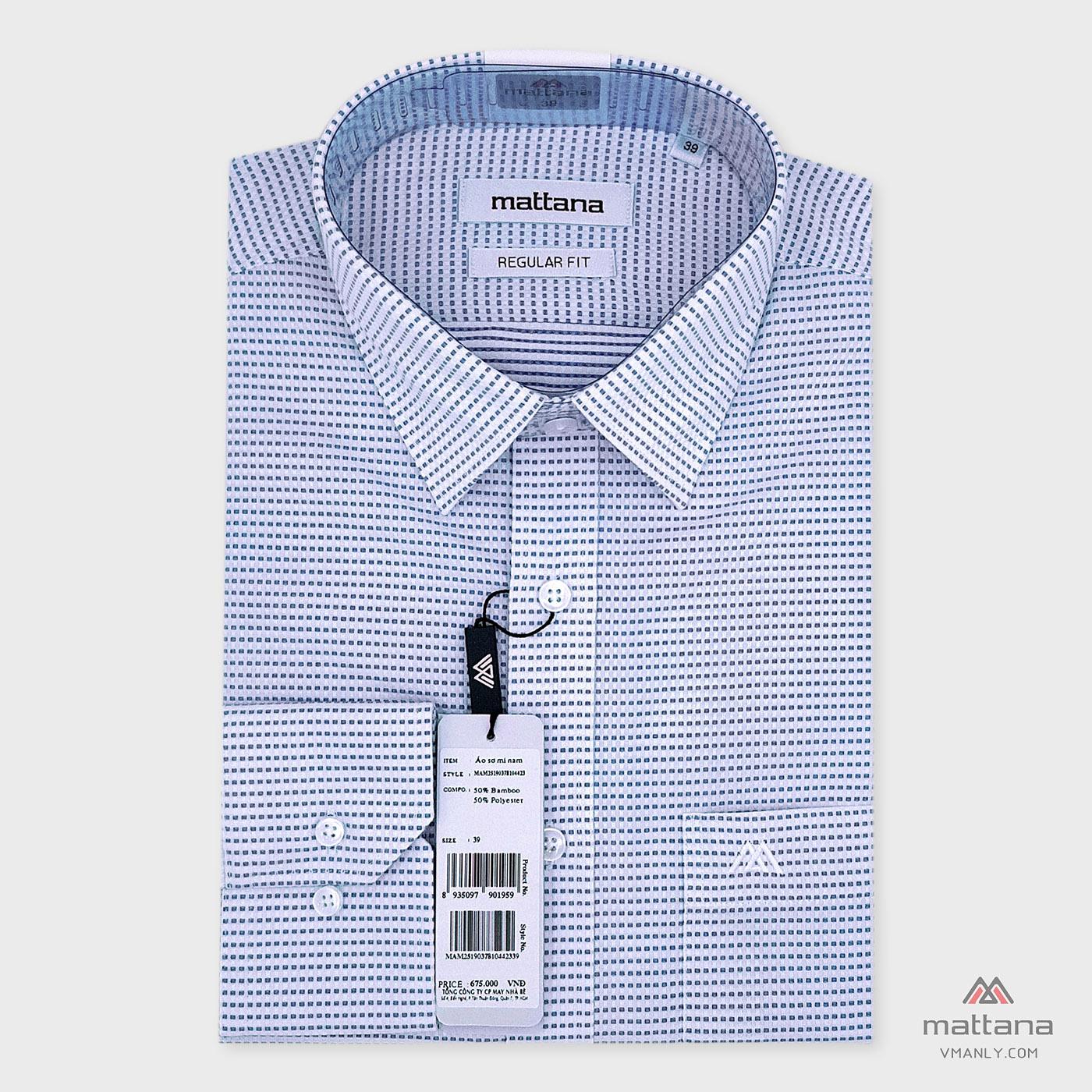 Áo sơ mi nam dài tay Mattana regular fit màu trắng carô xanh MAM25190378104423