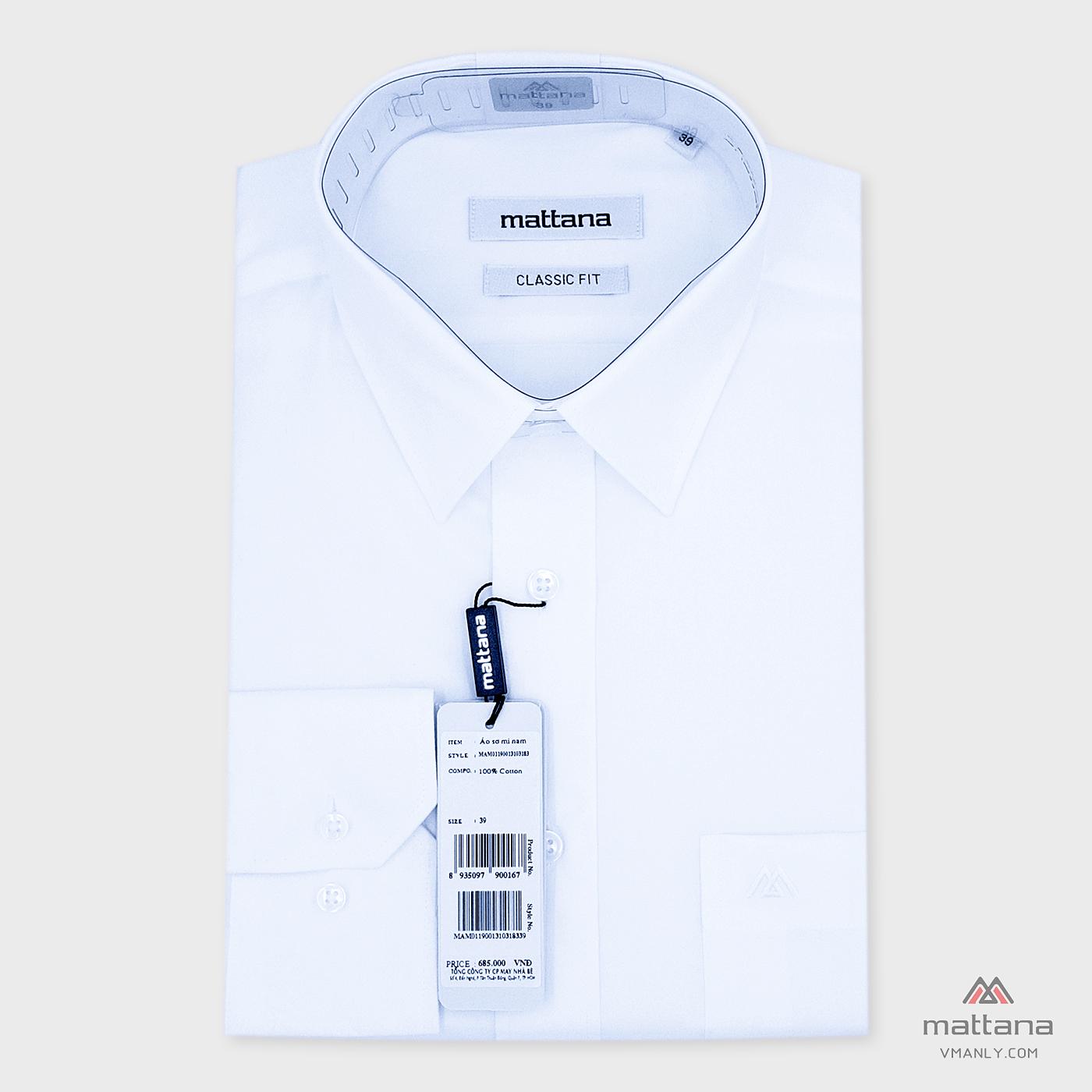 Áo sơ mi nam dài tay Mattana classic fit màu trắng trơn MAM01190013103183