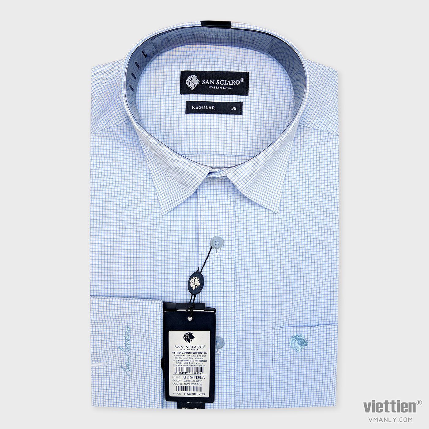 Áo sơ mi cao cấp San Sciaro Việt Tiến dài tay có túi màu trắng caro xanh 4J0166BT3/L4V