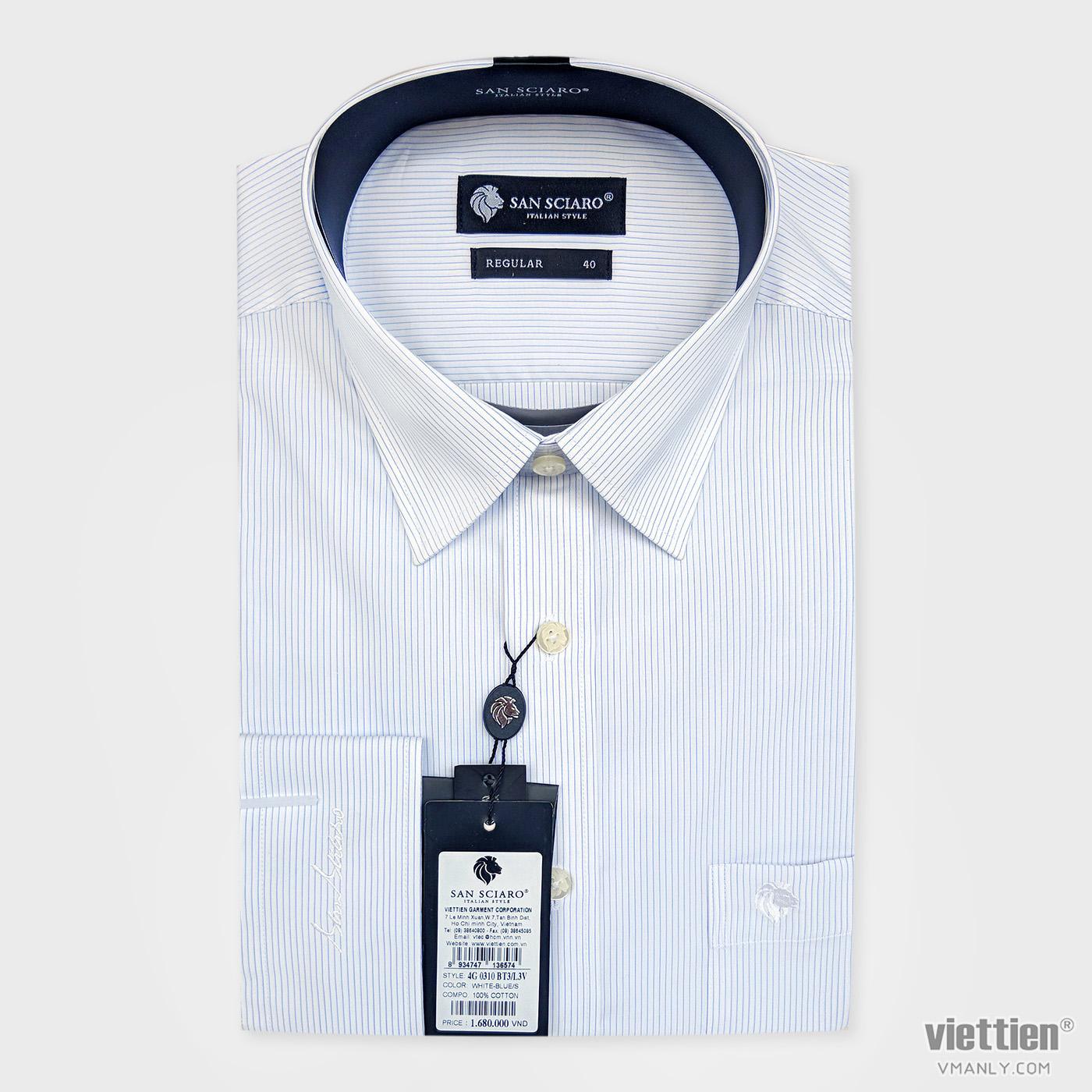 Áo sơ mi cao cấp San Sciaro Việt Tiến dài tay có túi màu trắng sọc tăm 4G0310BT3/L3V