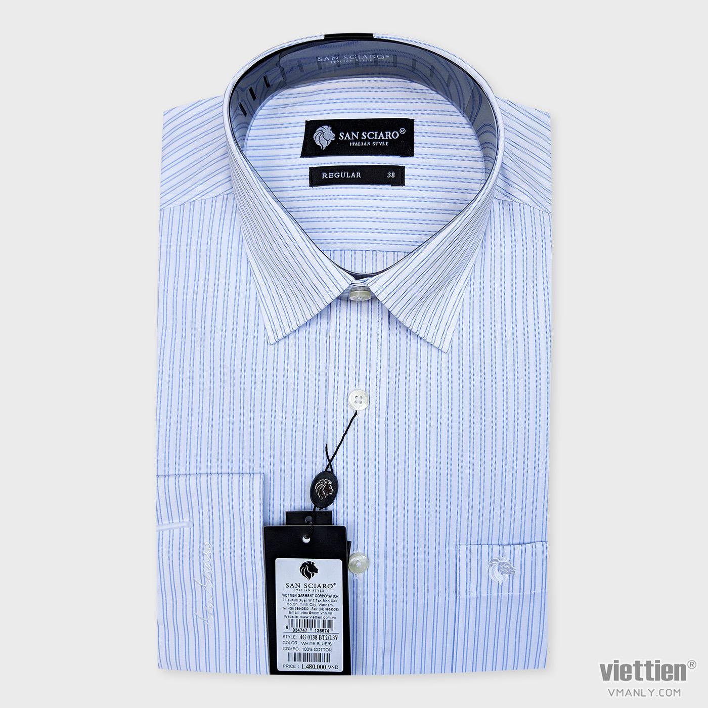 Áo sơ mi cao cấp San Sciaro Việt Tiến dài tay có túi màu trắng sọc xanh 4G0138BT2/L3V