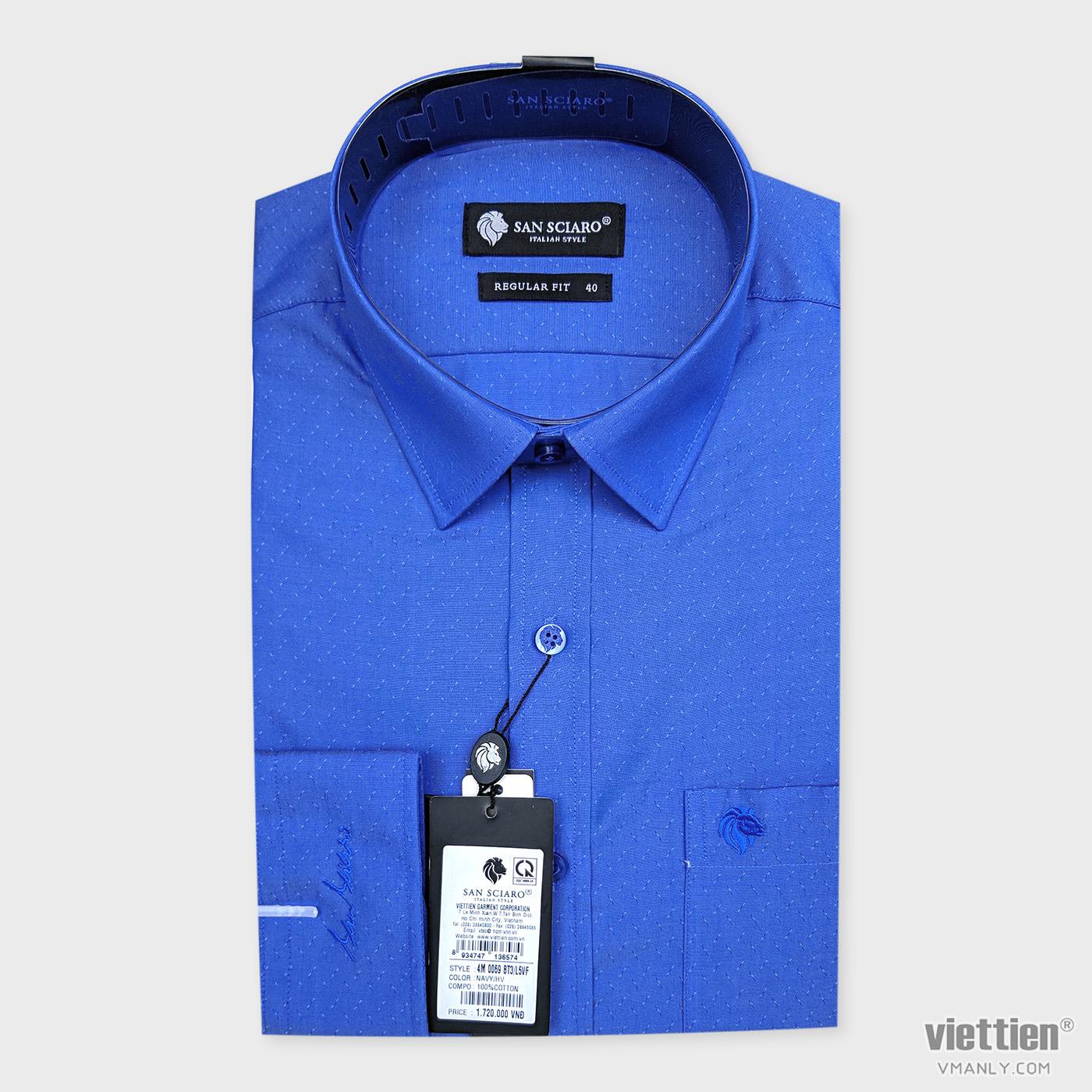 Áo sơ mi cao cấp San Sciaro Việt Tiến dài tay có túi màu xanh hoa văn 4M0069BT3/L5VF