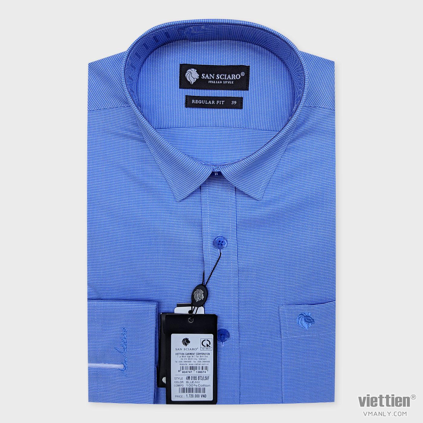 Áo sơ mi cao cấp San Sciaro Việt Tiến dài tay có túi màu xanh hoa văn 4M0185BT3/L5VF