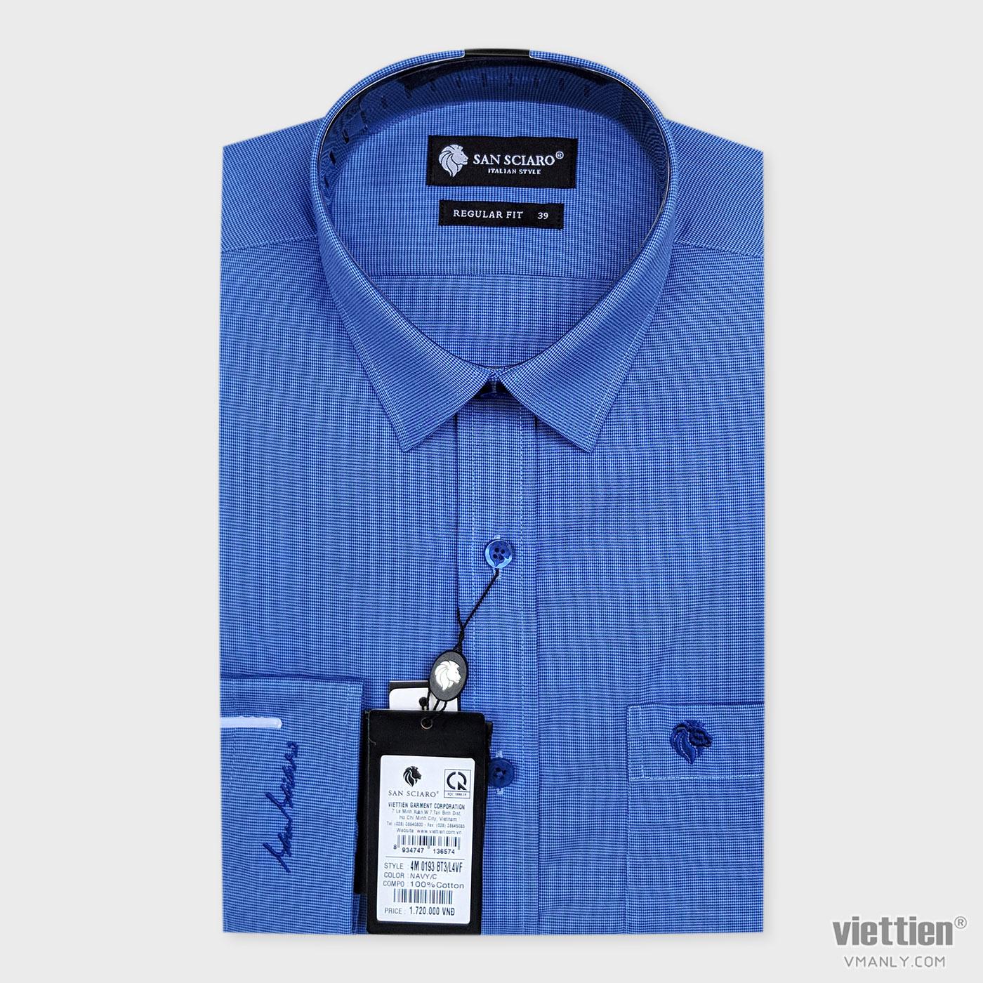 Áo sơ mi cao cấp San Sciaro Việt Tiến dài tay có túi màu xanh caro 4M0193BT3/L4VF