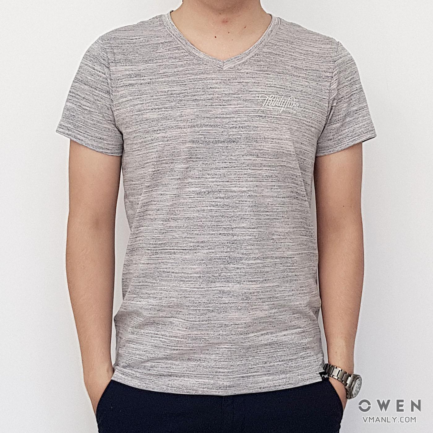 Áo T-shirt nam Owen cổ tim màu xám xanh TS18231N