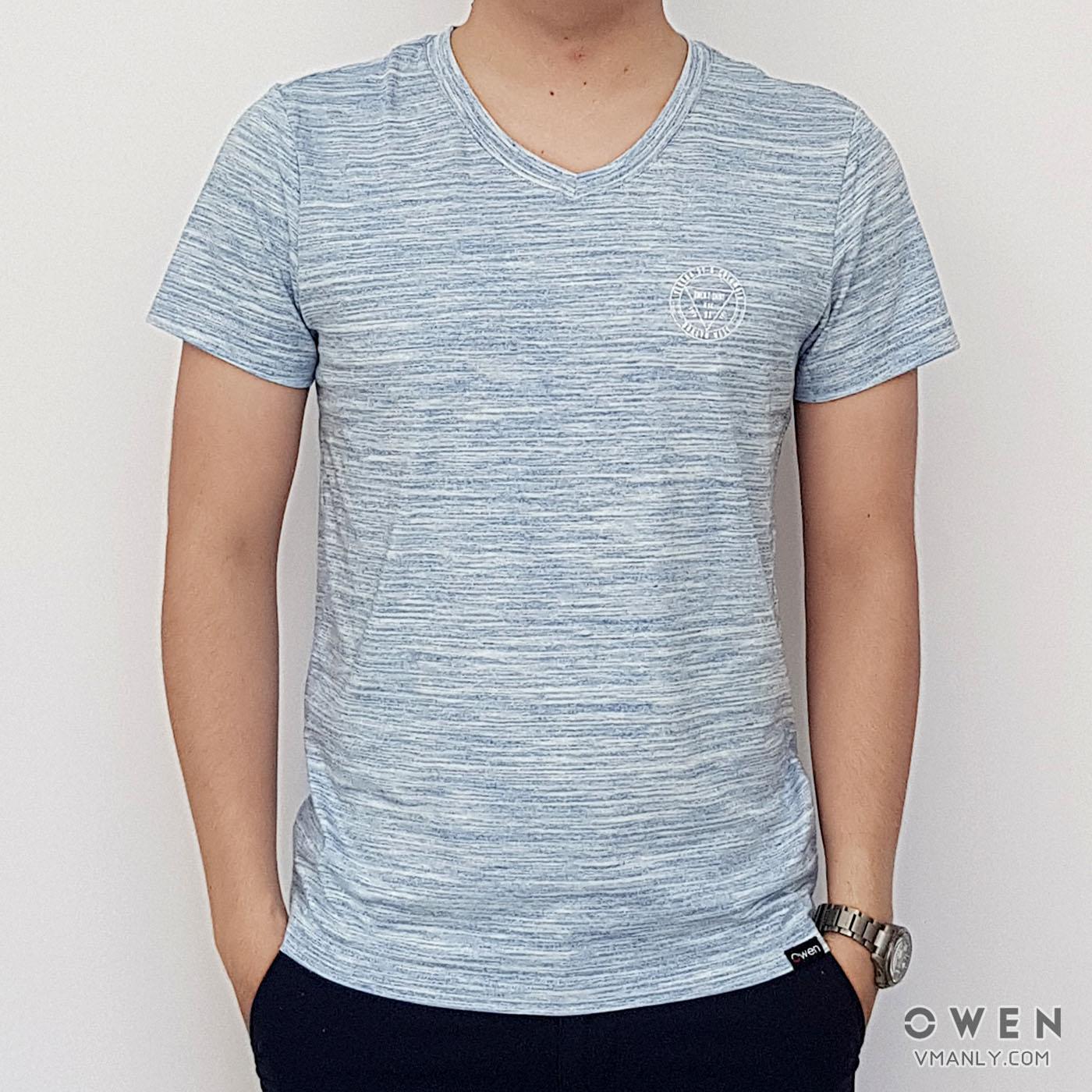 Áo T-shirt nam Owen cổ tim màu xanh xước TS18235N