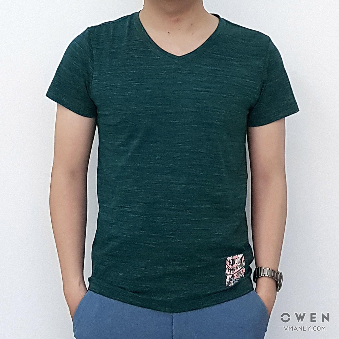 Áo T-shirt nam Owen cổ tim màu xanh đậm TS18241N