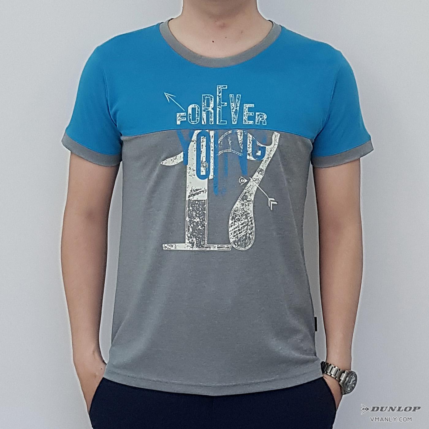 Áo T-shirt nam Dunlop cổ tròn màu ghi phối xanh DASLF6021-1-GR
