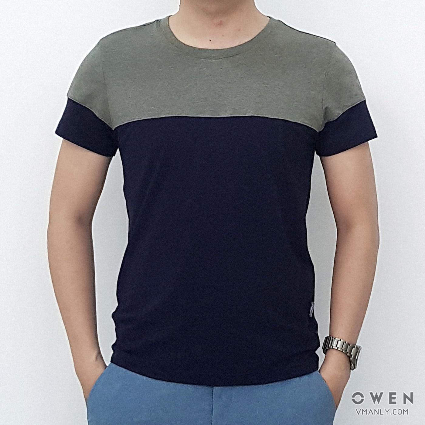 Áo T-shirt nam Owen cổ tròn hai màu xanh, xám TS80284
