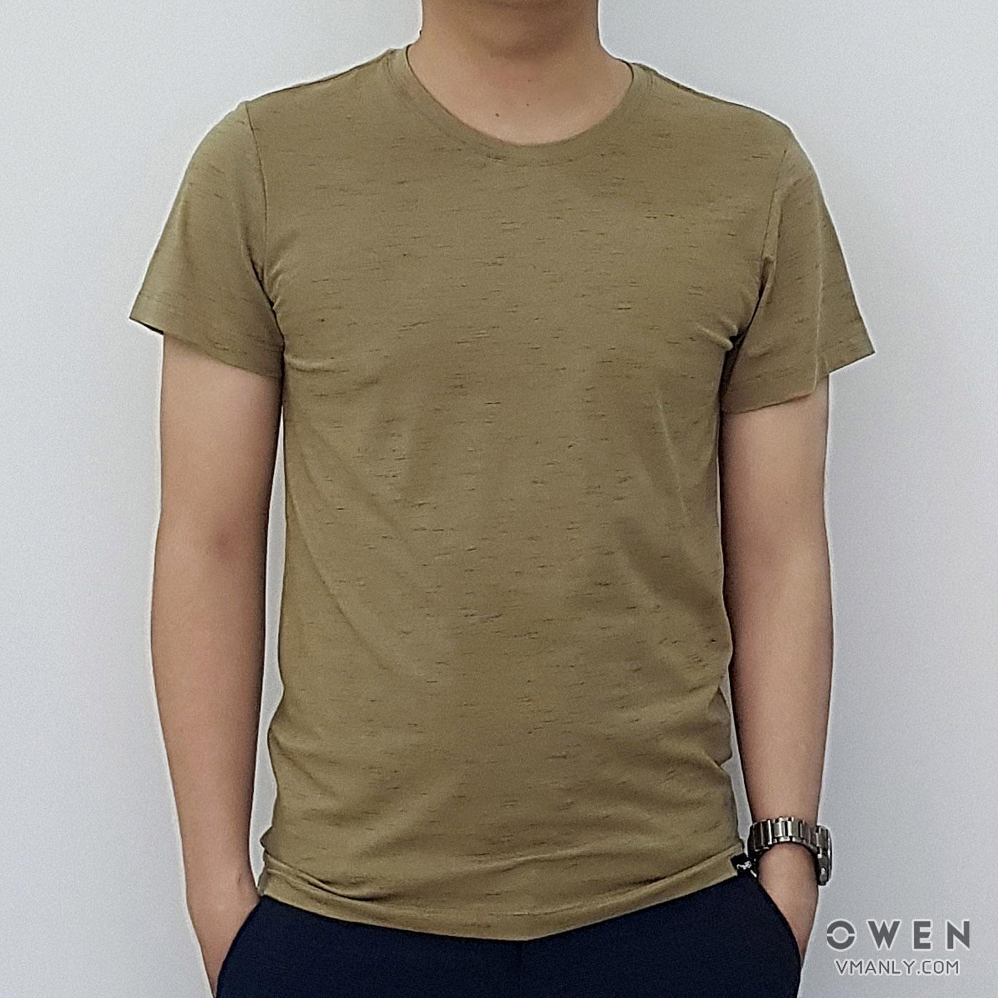 Áo T-shirt nam Owen cổ tròn màu xanh cỏ úa TS18246N
