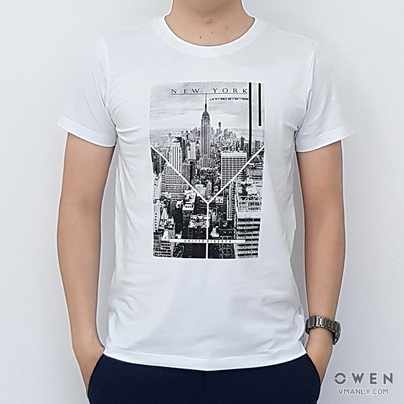 Áo T-shirt nam Owen cổ tròn màu trắng  TSN90733