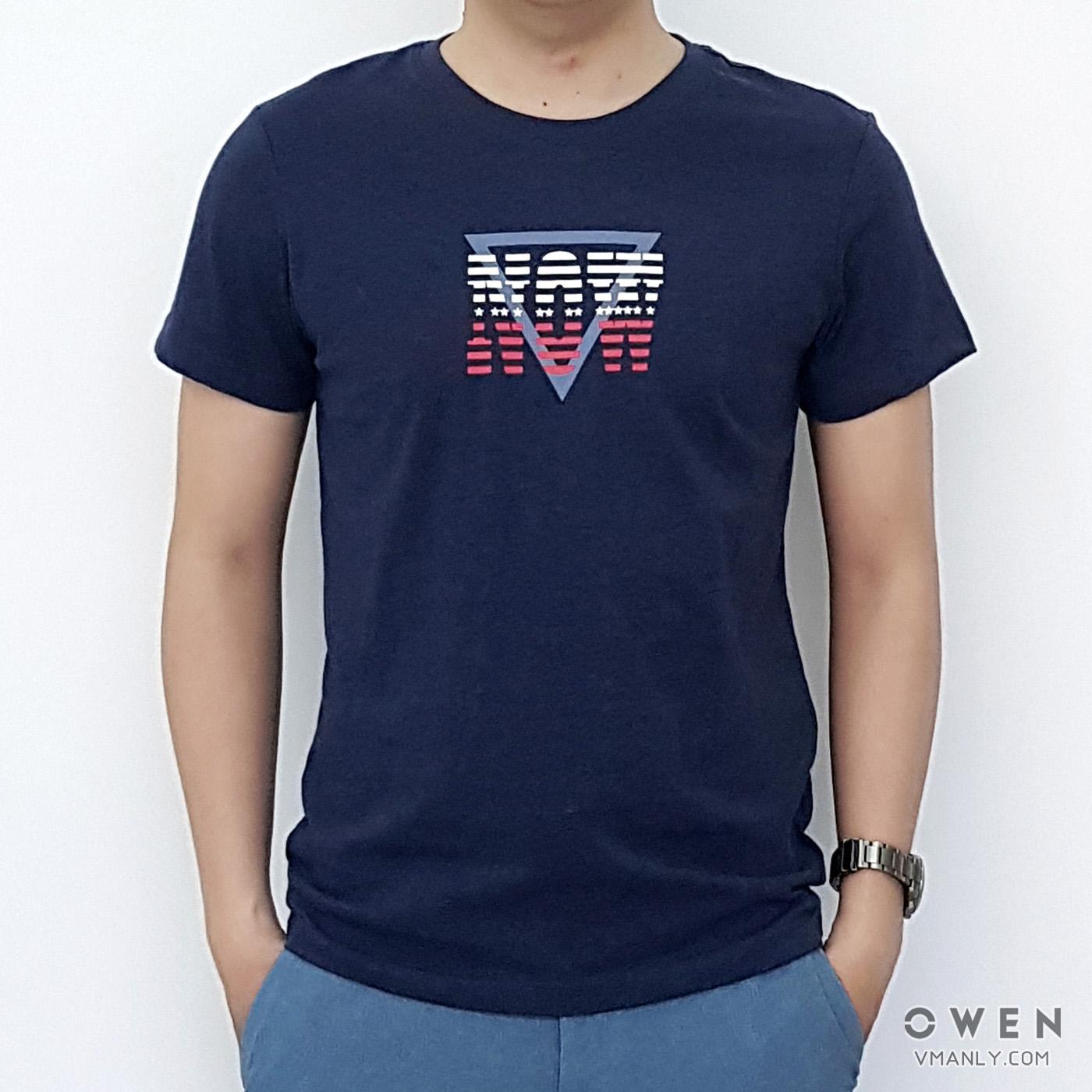 Áo T-shirt nam Owen cổ tròn màu xanh đậm TSN90718