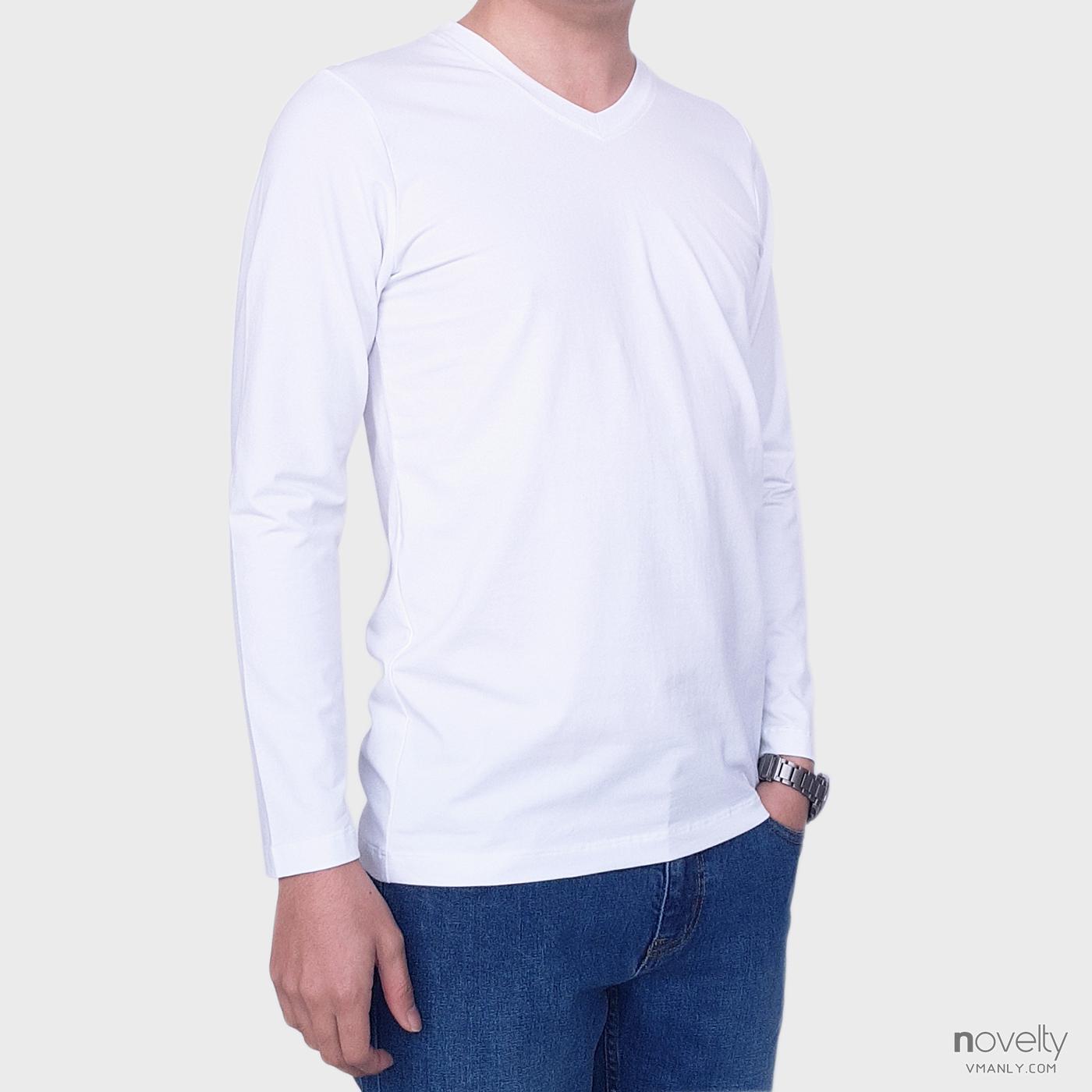 Áo thun dài tay - áo giữ nhiệt Novelty cổ tim màu trắng 190767D