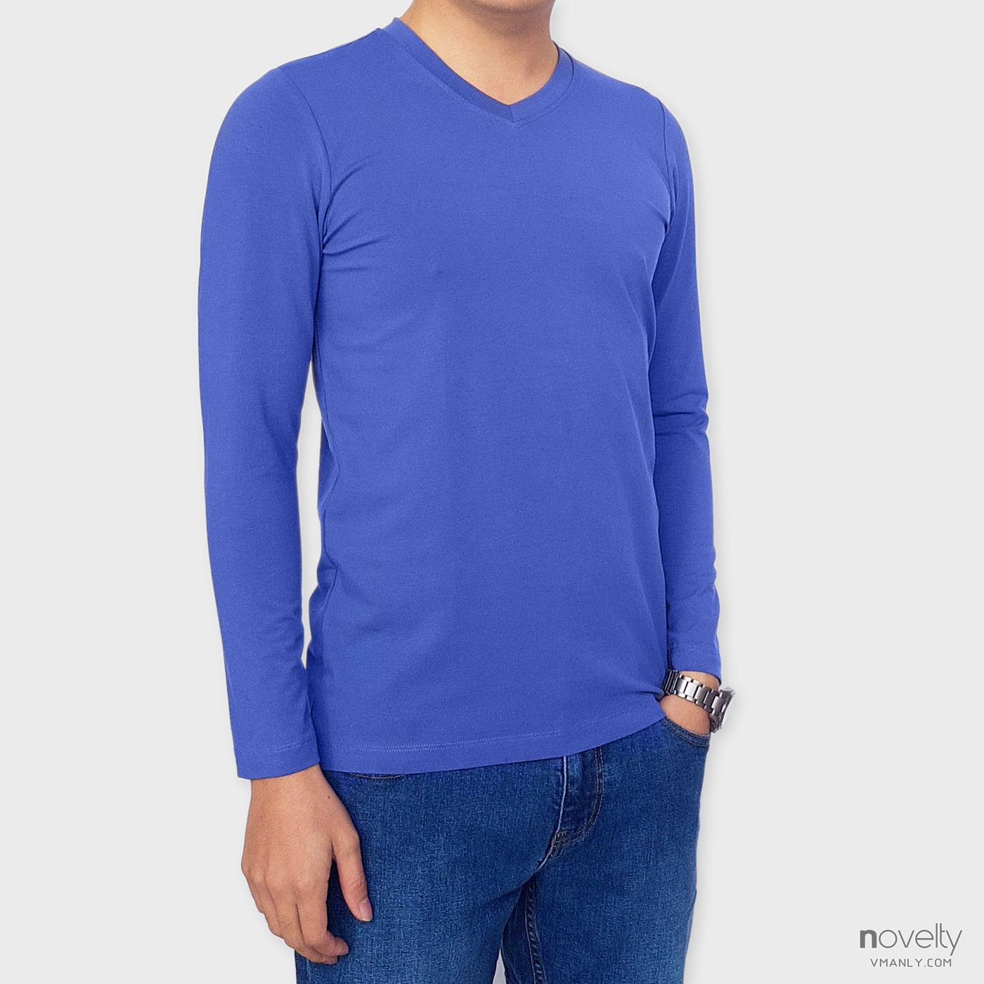 Áo thun dài tay - áo giữ nhiệt Novelty cổ tim màu xanh blue 190772D