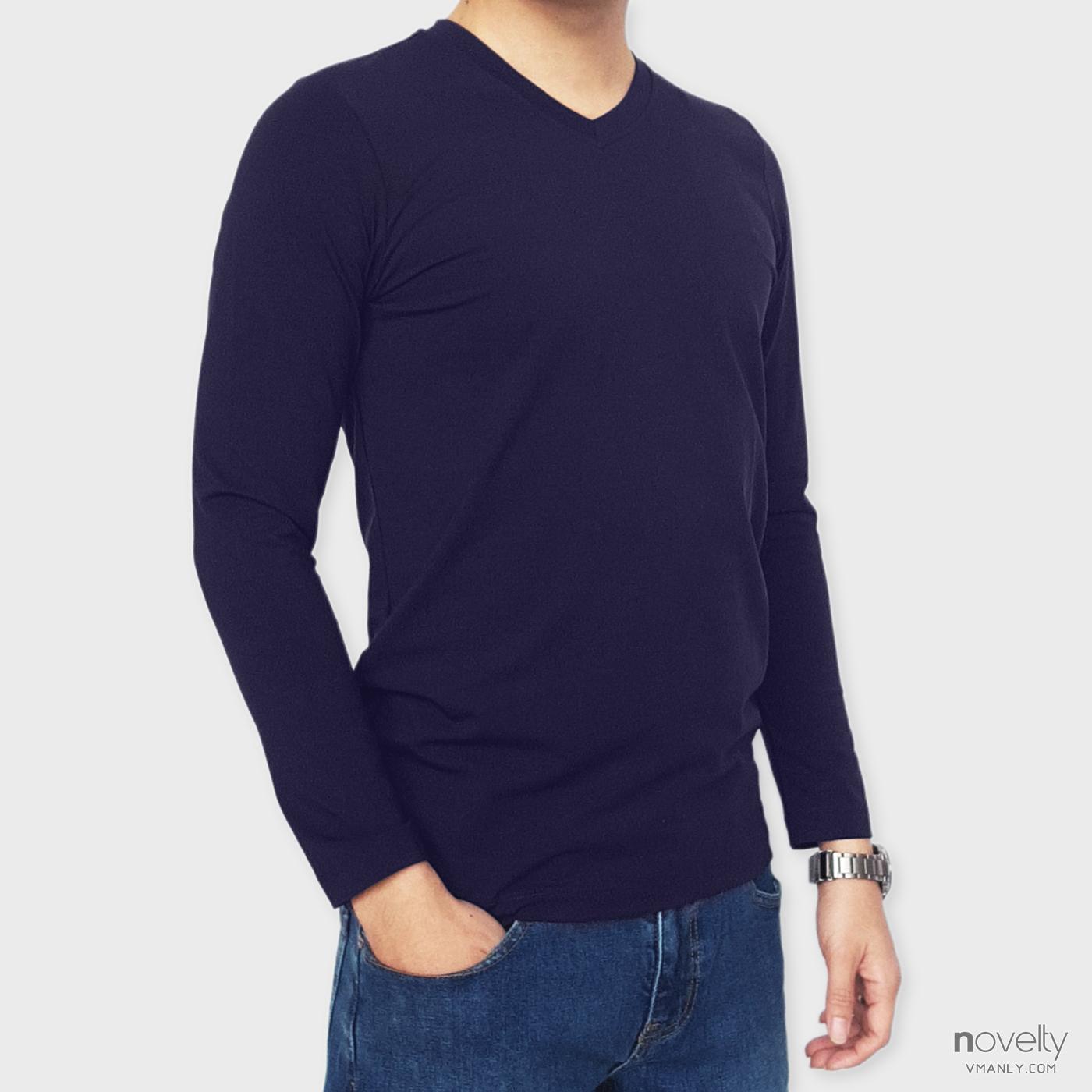 Áo thun dài tay - áo giữ nhiệt Novelty cổ tim màu xanh navy 190769D