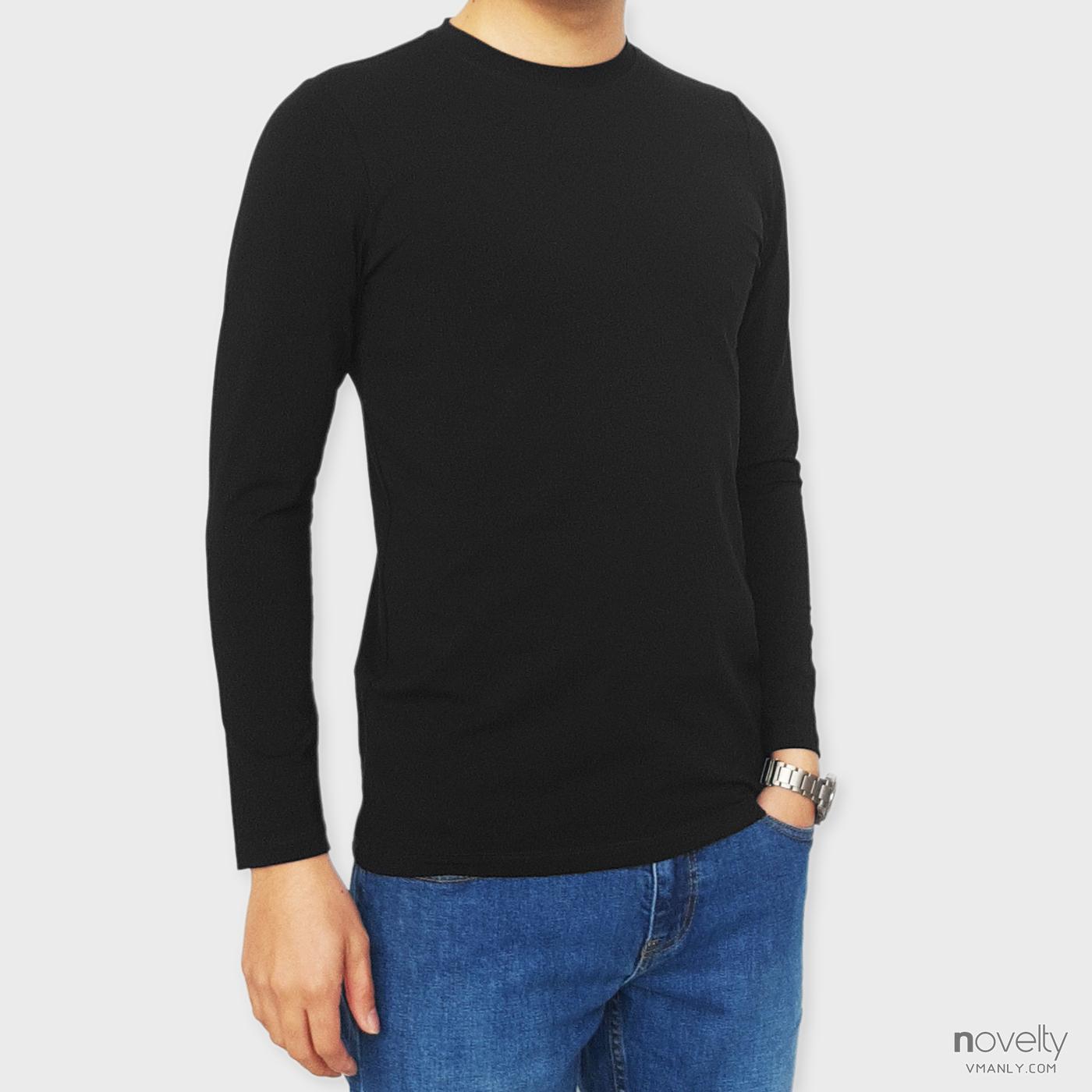 Áo thun dài tay - áo giữ nhiệt Novelty cổ tròn màu đen 190762D