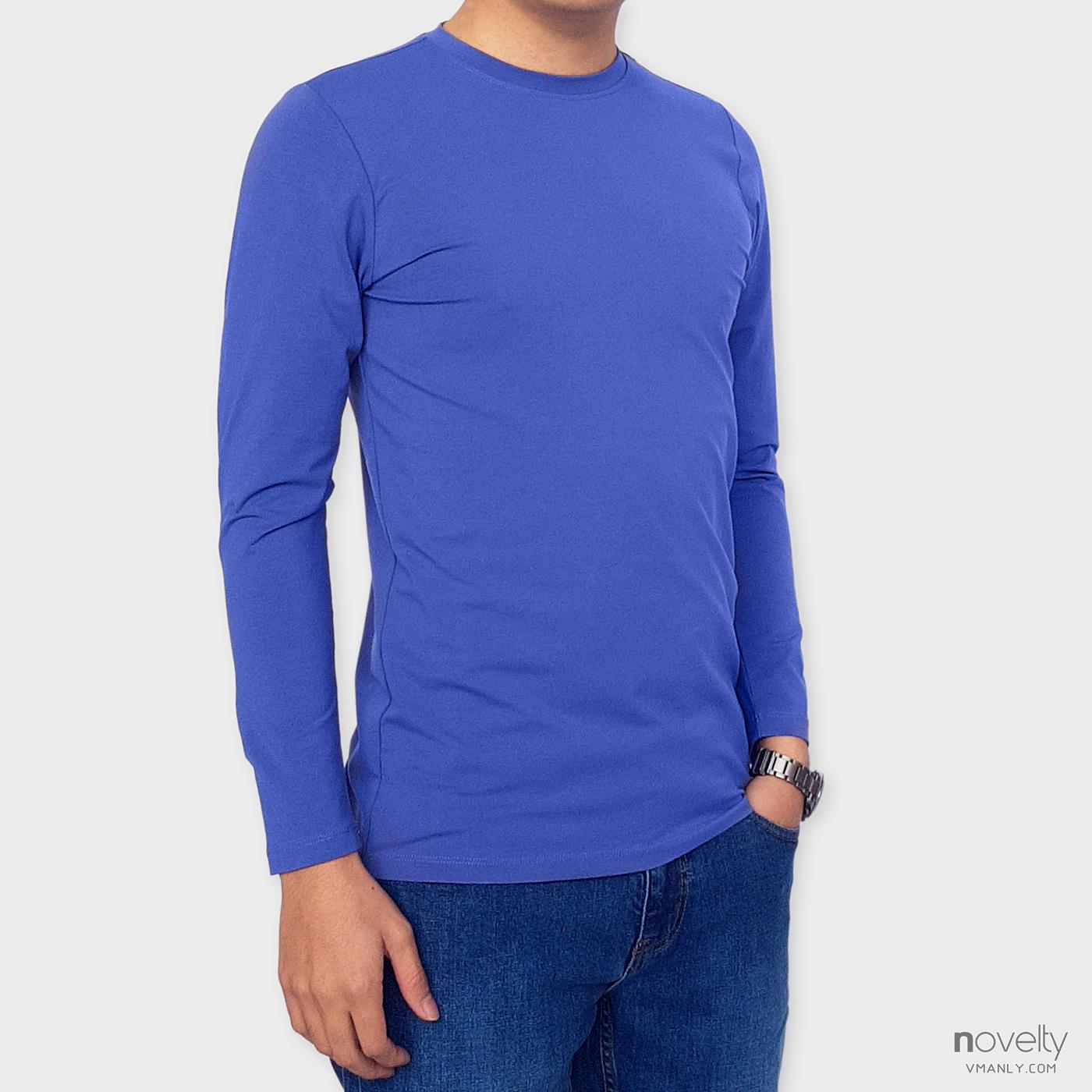 Áo thun dài tay - áo giữ nhiệt Novelty cổ tròn màu xanh blue 190766D