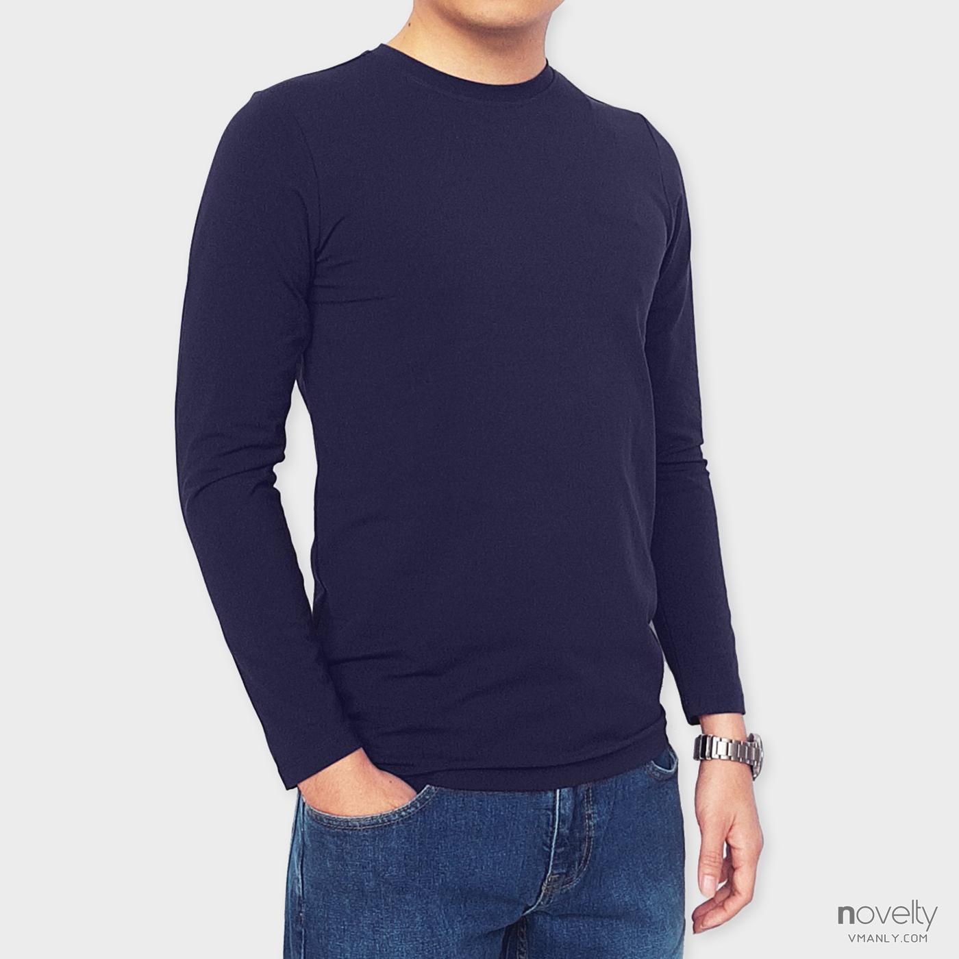 Áo thun dài tay - áo giữ nhiệt Novelty cổ tròn màu xanh navy 190763D