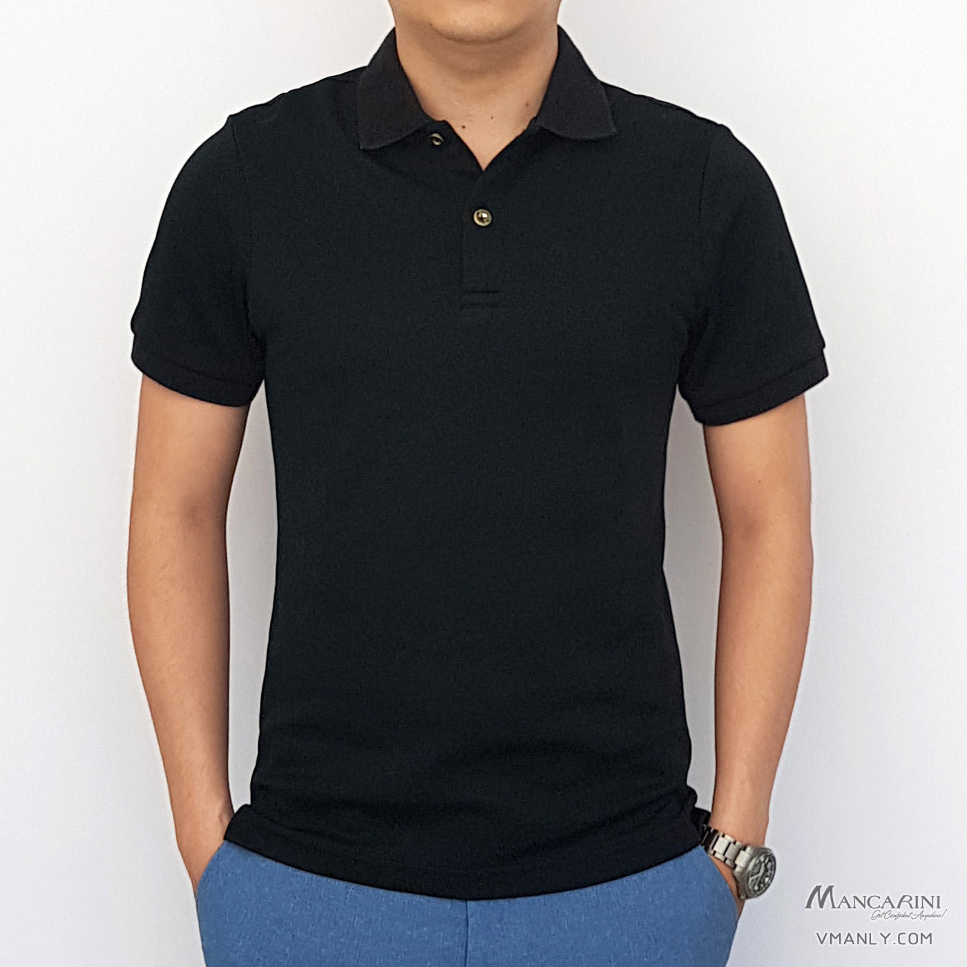 Áo polo nam Mancarini áo thun cổ bẻ màu đen 1AP009213