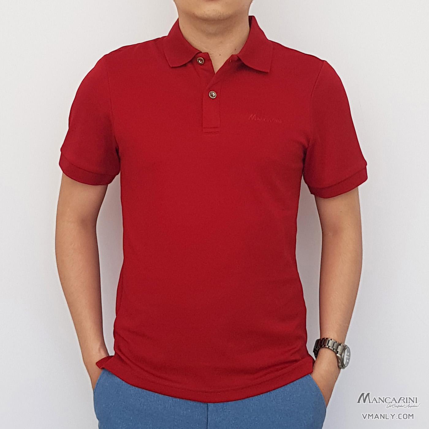 Áo polo nam Mancarini áo thun cổ bẻ màu đỏ 1AP0062
