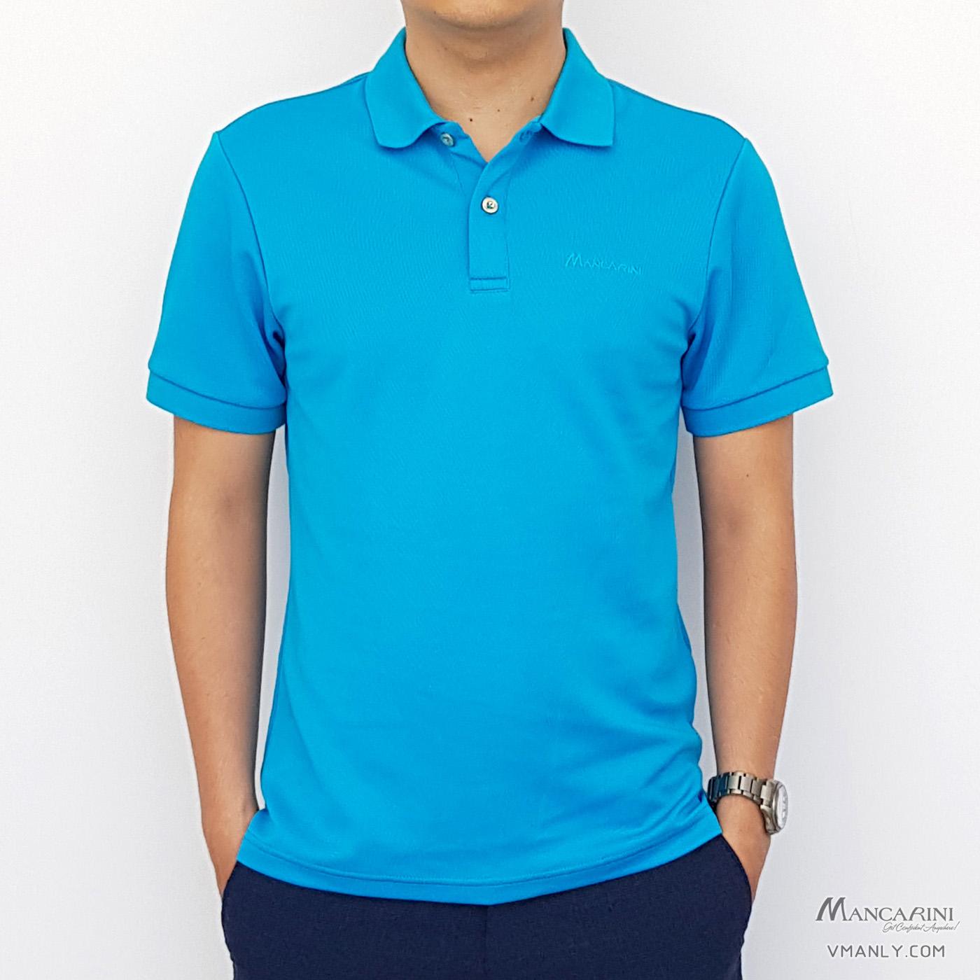 Áo polo nam Mancarini áo thun cổ bẻ màu xanh 1AP0073
