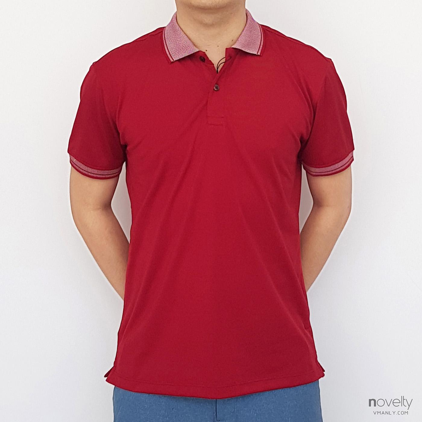 Áo polo nam Novelty cổ bẻ màu đỏ NATMMDNPSR181363N