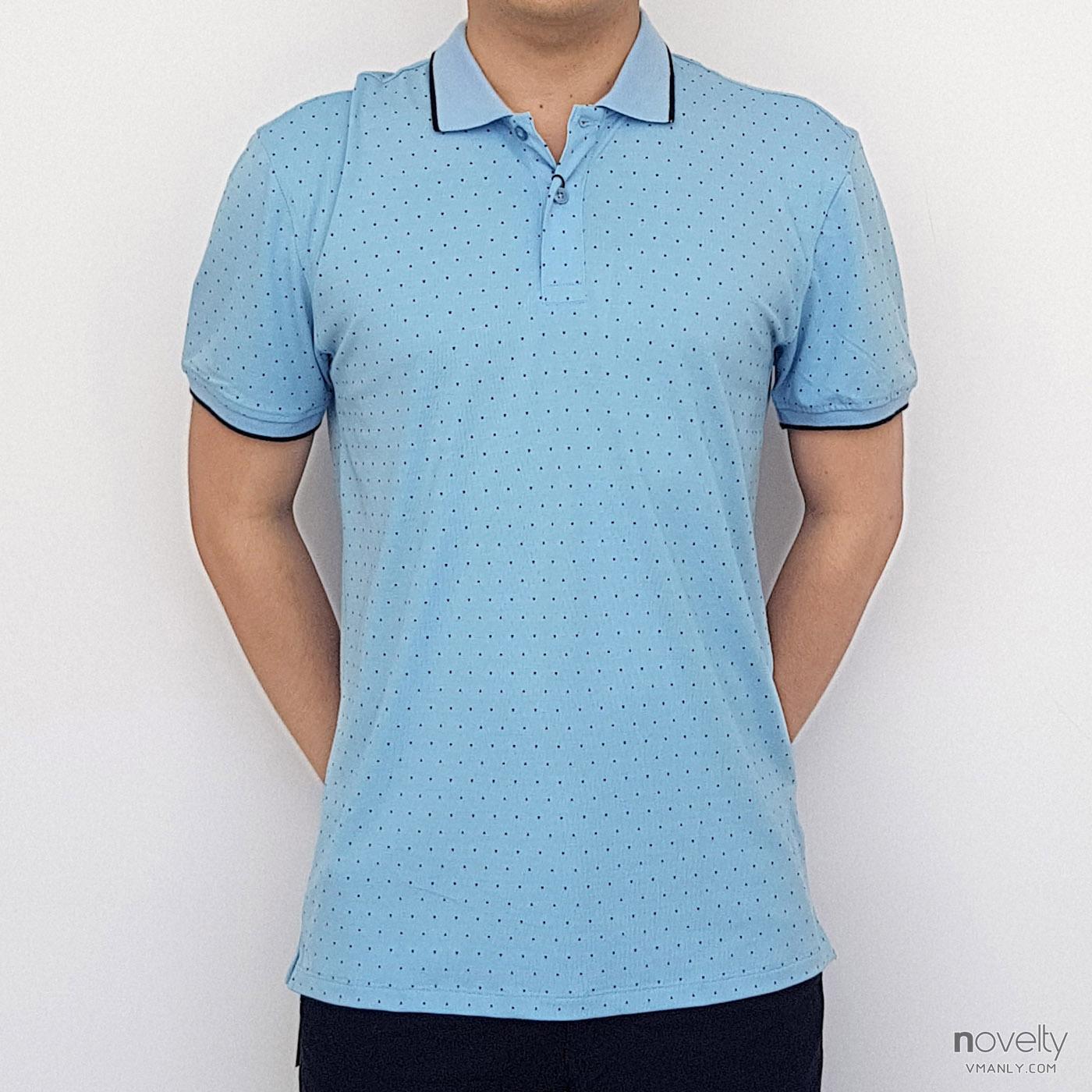 Áo polo nam Novelty cổ bẻ màu xanh nhạt NATMHTMT3R181371N