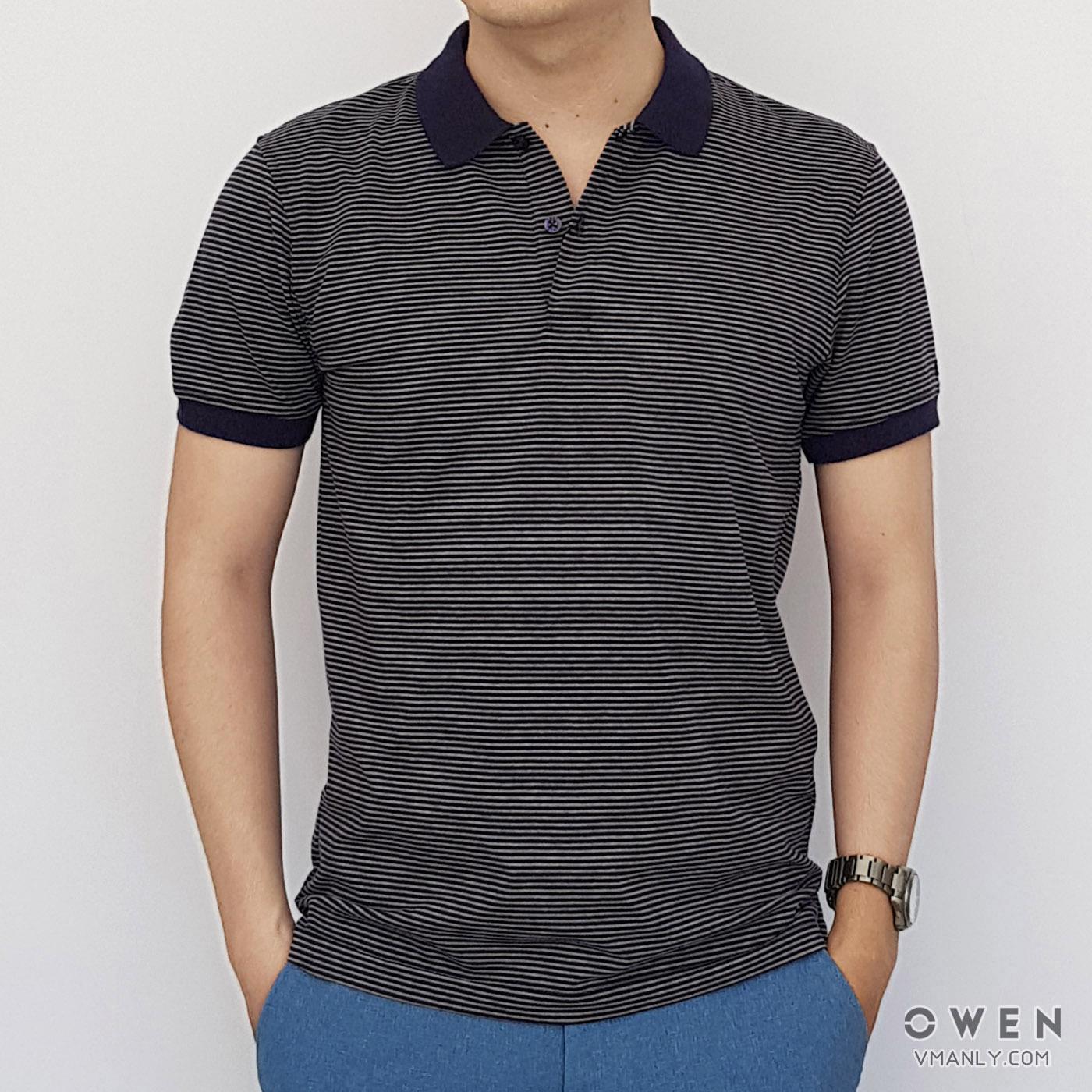 Áo polo nam Owen cổ bẻ sọc xanh trắng PAV80898