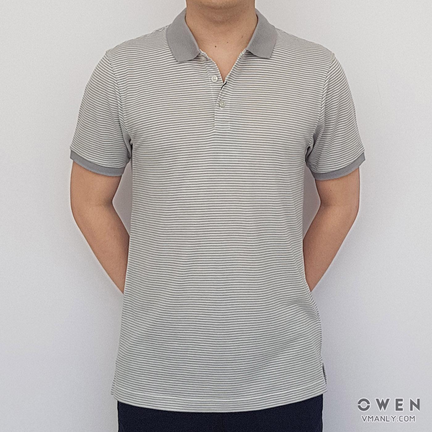Áo polo nam Owen cổ bẻ sọc ngang màu trắng-xám PAT18185
