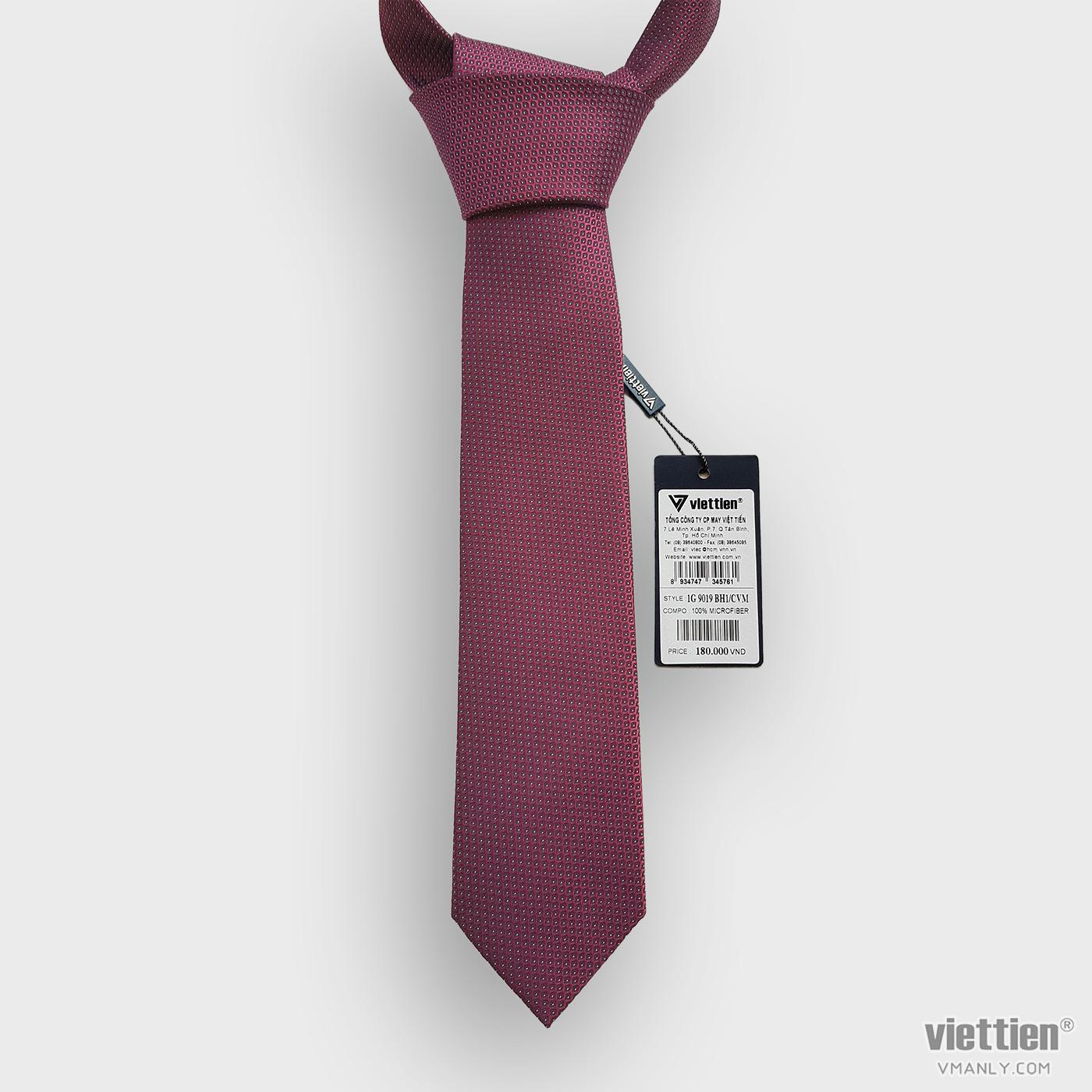 Cà vạt Việt Tiến màu đỏ chấm bi 1G9019BH1/CVM