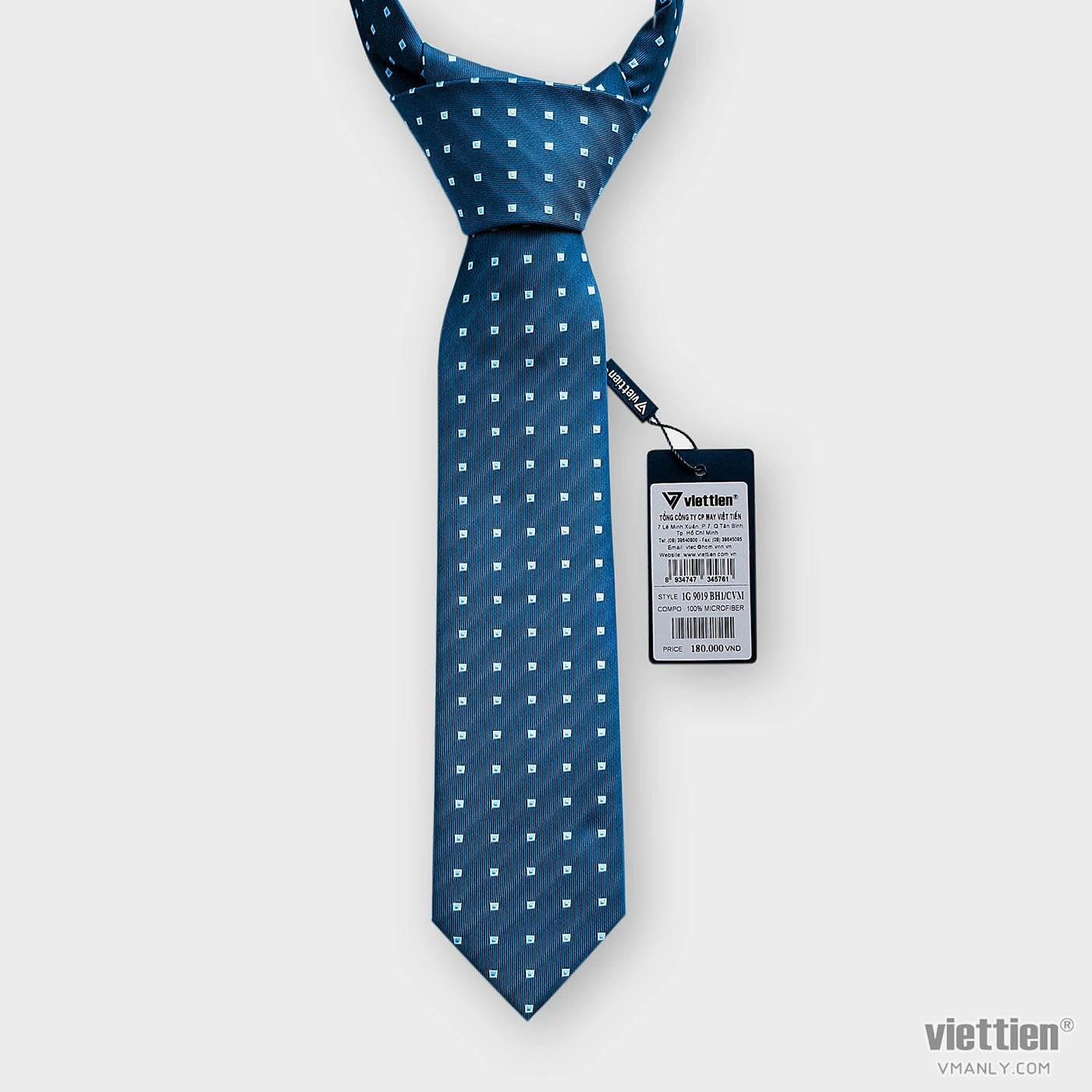 Cà vạt Việt Tiến màu xanh hoa văn 1G9019BH1/CVM