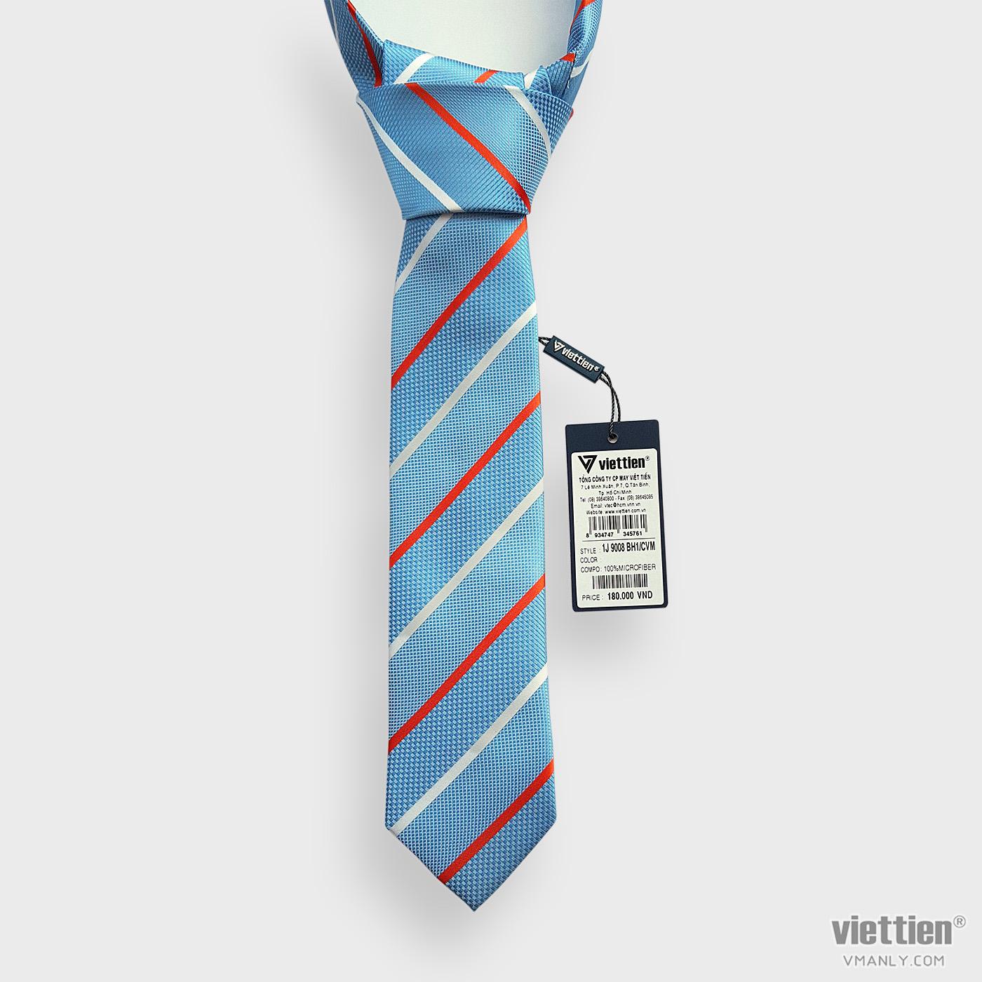 Cà vạt Việt Tiến màu xanh sọc chéo 1J9008BH1/CVM