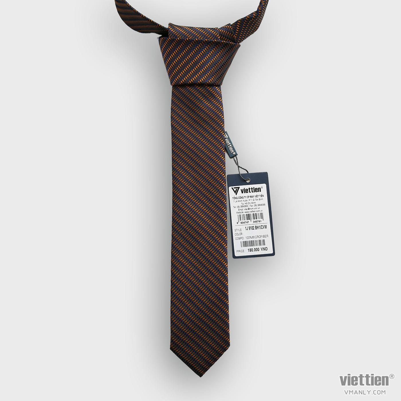 Cà vạt Việt Tiến màu nâu sọc chéo 1J9102BH1/CVM