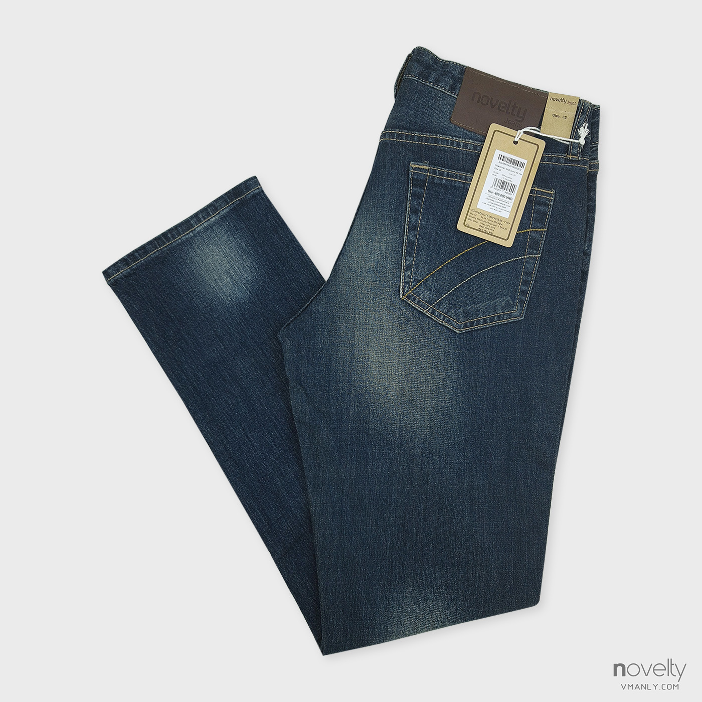 Quần Jeans nam Novelty ống côn màu xanh đậm NQJMMTNCSI1604020