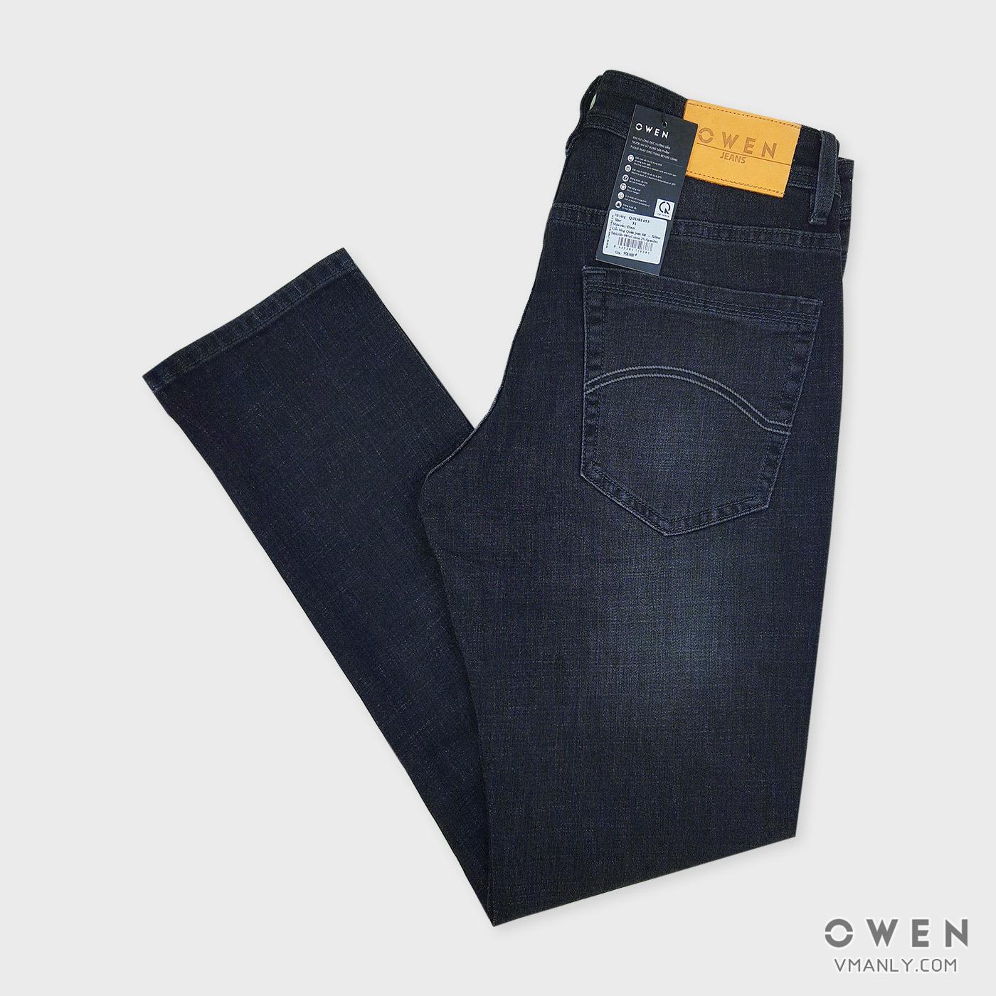 Quần Jeans nam Owen - OJeans ống côn màu đen QJD81453