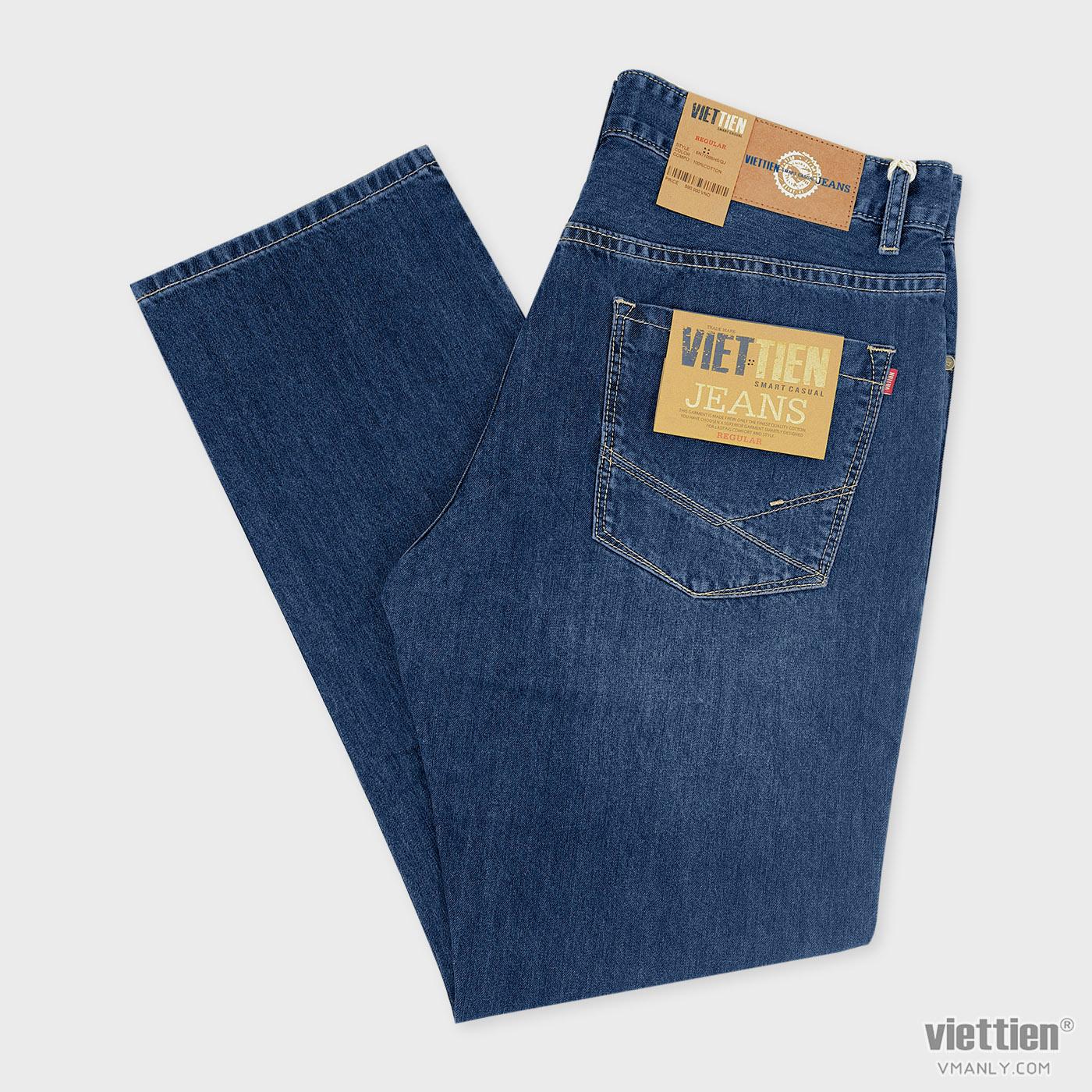 Quần Jeans nam Việt Tiến regular, 100% cotton màu xanh jeans 6N7109BH5/QJ