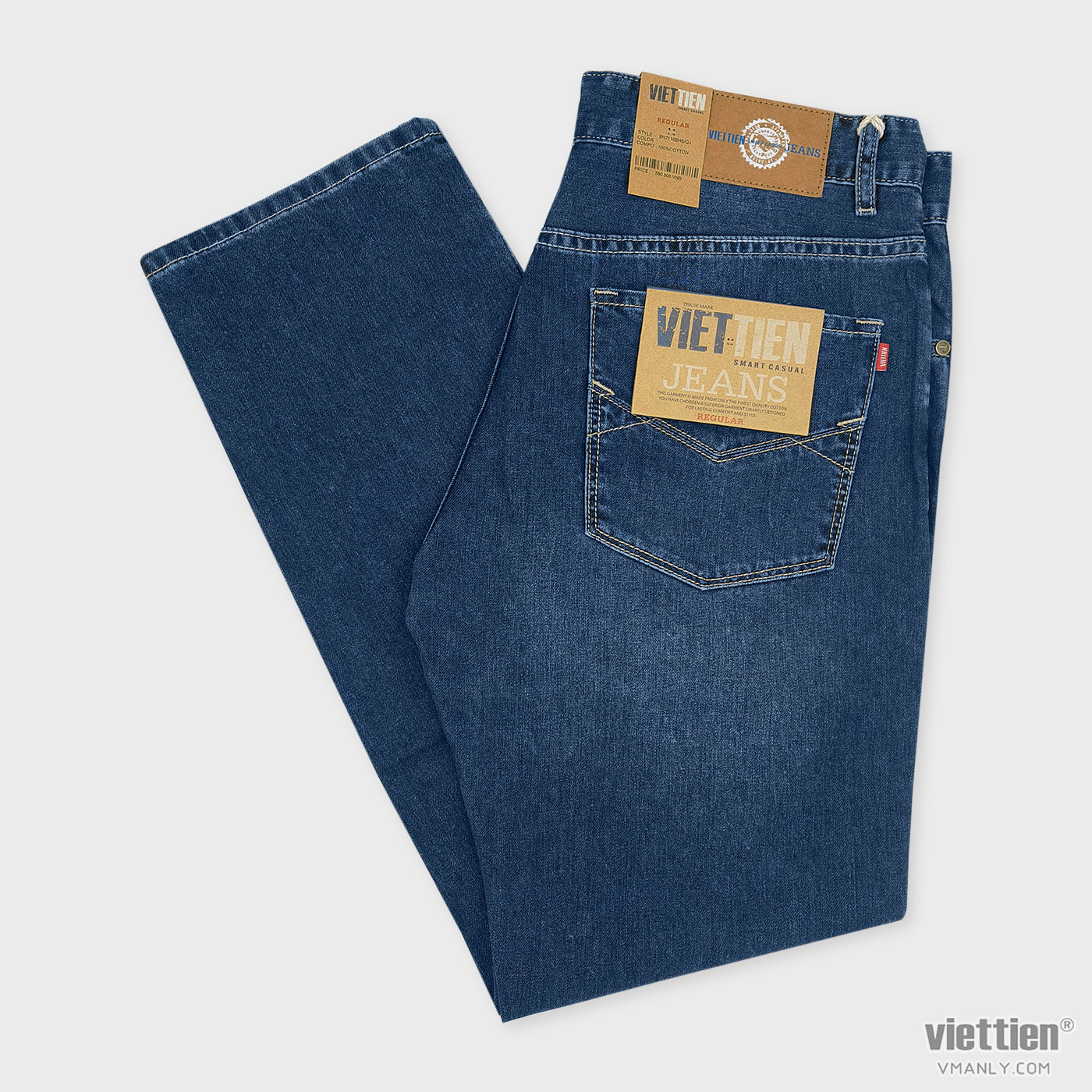 Quần Jeans nam Việt Tiến regular, 100% cotton màu xanh 6N7110BH5/QJ