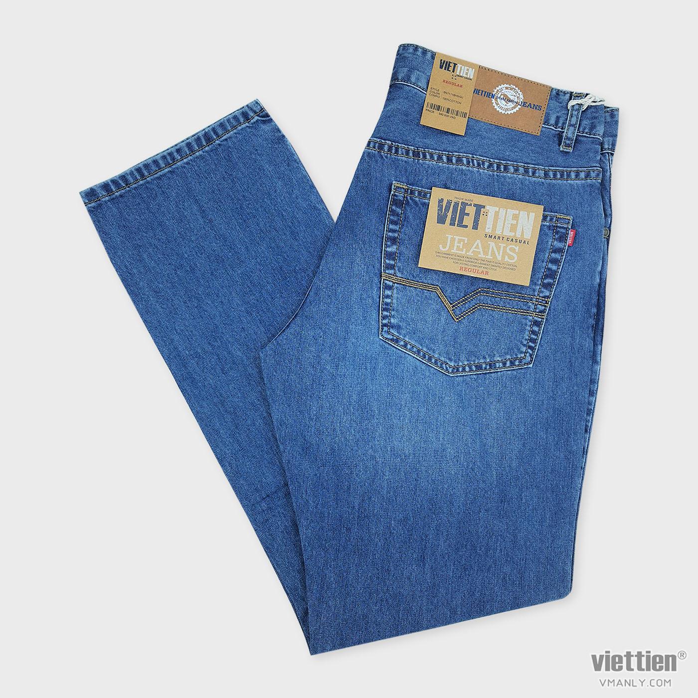Quần Jeans nam Việt Tiến regular, 100% cotton màu xanh jeans 6N7111BH5/QJ