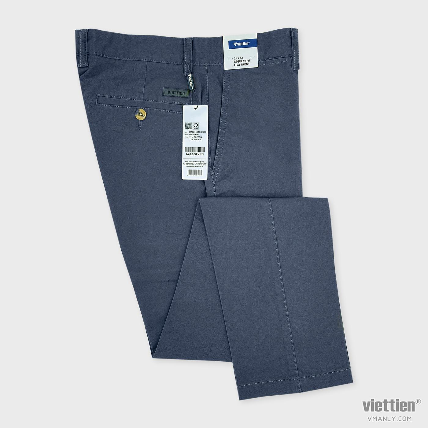 Quần kaki nam Việt Tiến không li regular fit màu xám 8M7034BT6QK0D
