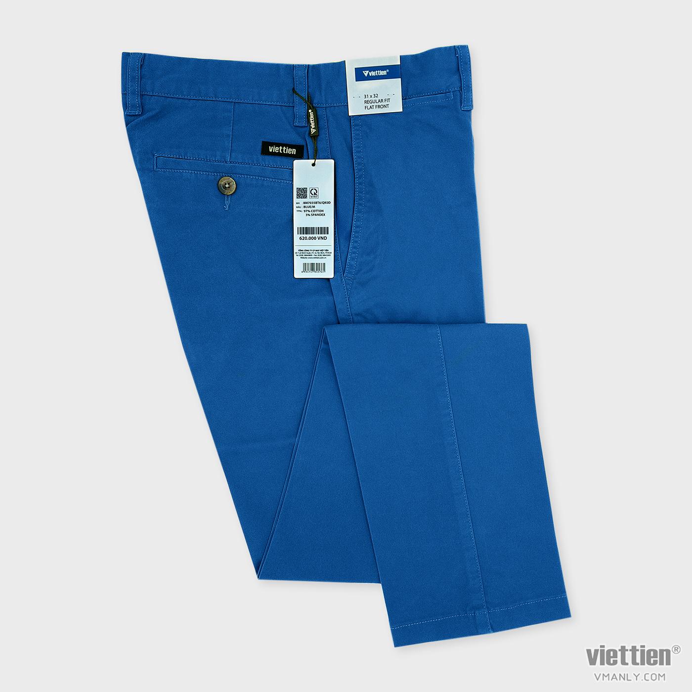 Quần kaki nam Việt Tiến không li regular fit màu xanh blue 8M7035BT6QK0D