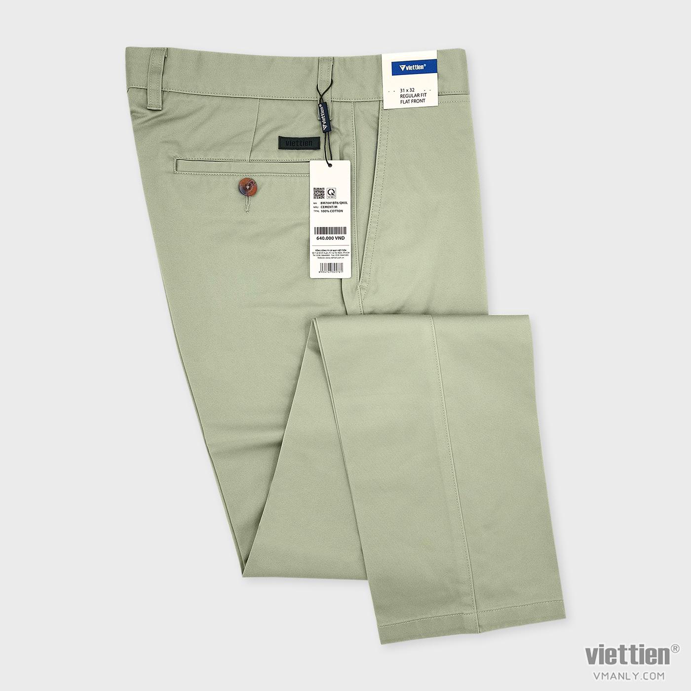 Quần kaki nam Việt Tiến không li regular fit màu xanh nhạt 8M7041BT6QK0L