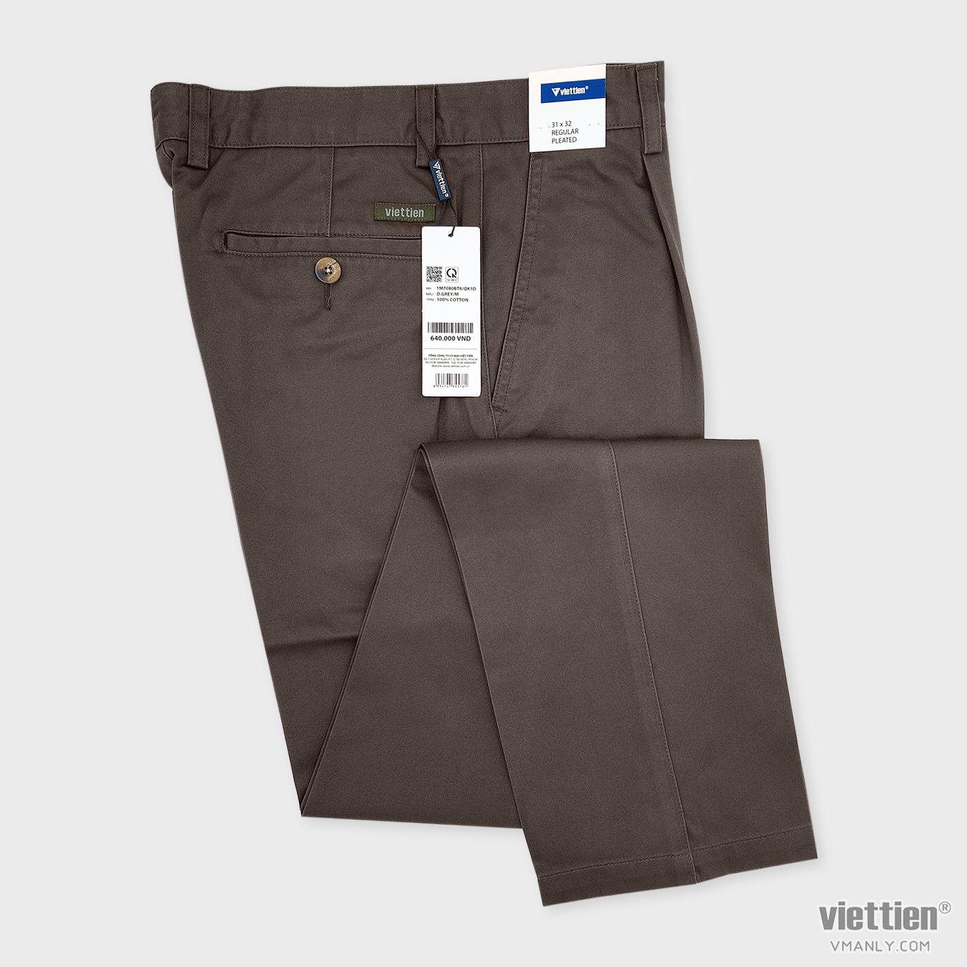 Quần kaki nam Việt Tiến có li regular màu xám đậm 1M7080BT6QK1D