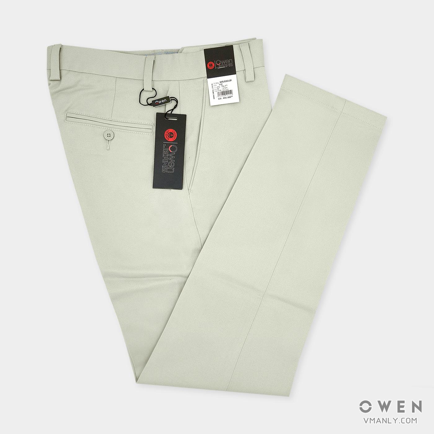 Quần kaki Owen không li regular-fit màu kem QKSL65242