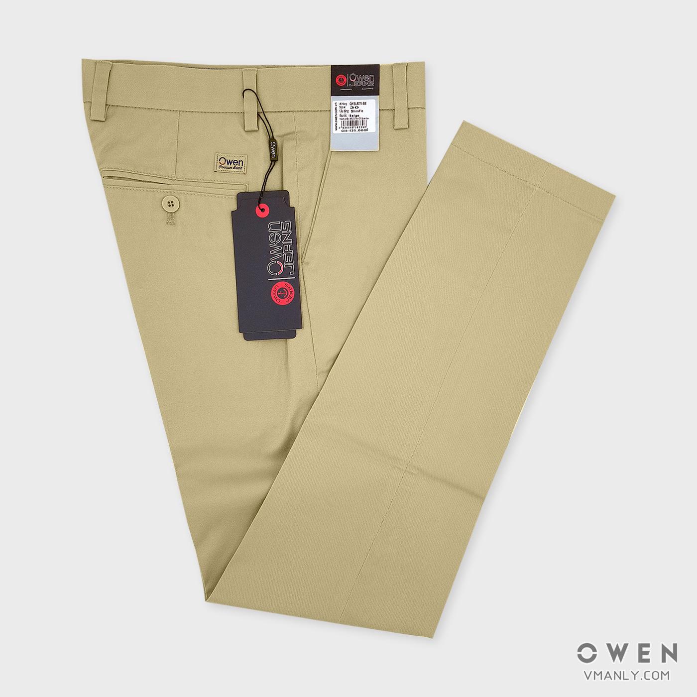 Quần kaki Owen không li slimfit màu be QKSL6771